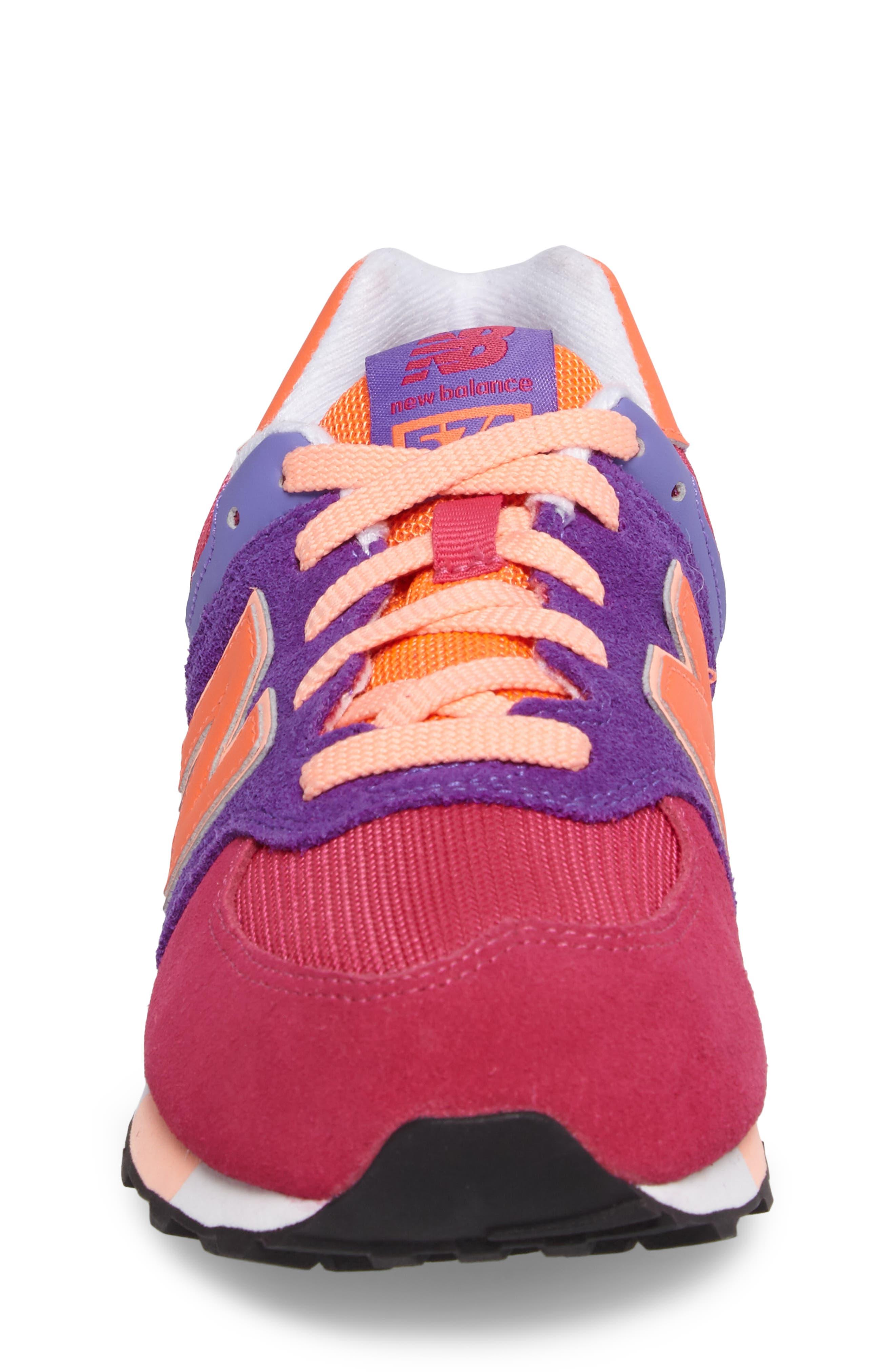 574 Cut & Paste Sneaker,                             Alternate thumbnail 4, color,                             Pink/ Purple