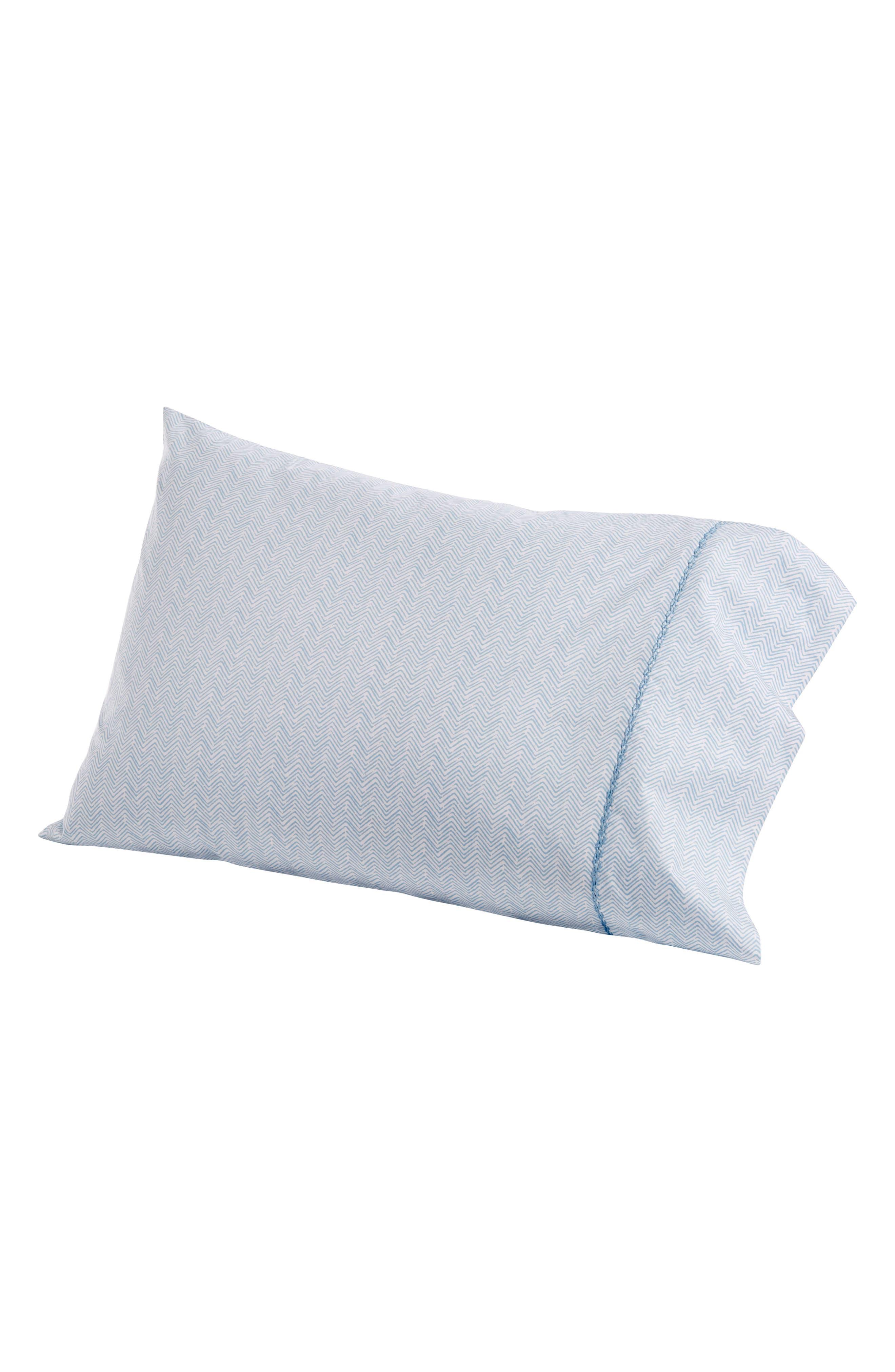 Chevron Combed Cotton Pillowcases,                         Main,                         color, Light Indigo White