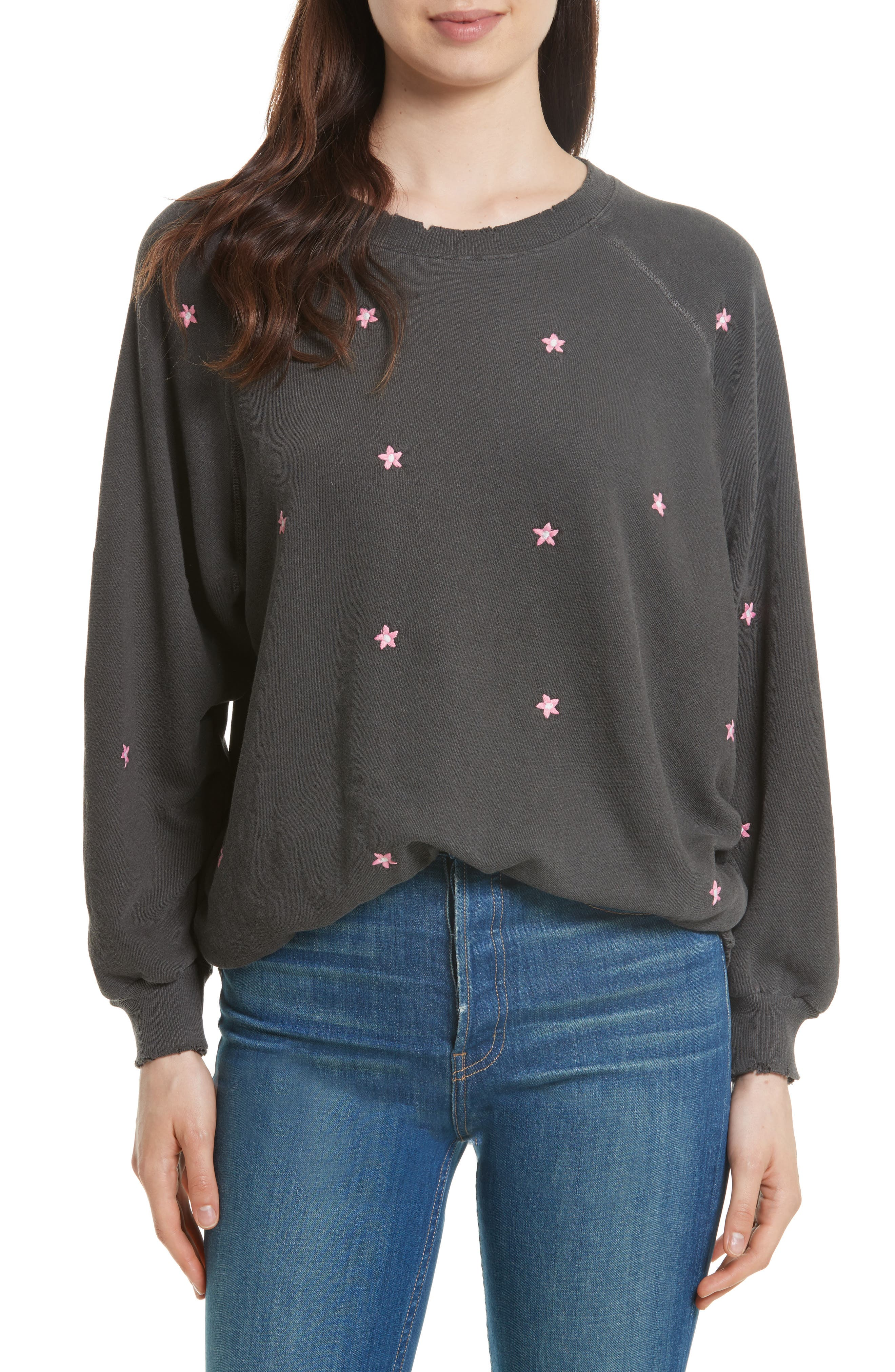The Embroidered Bubble Sweatshirt,                         Main,                         color, Washed Black/ Coral Embroidery
