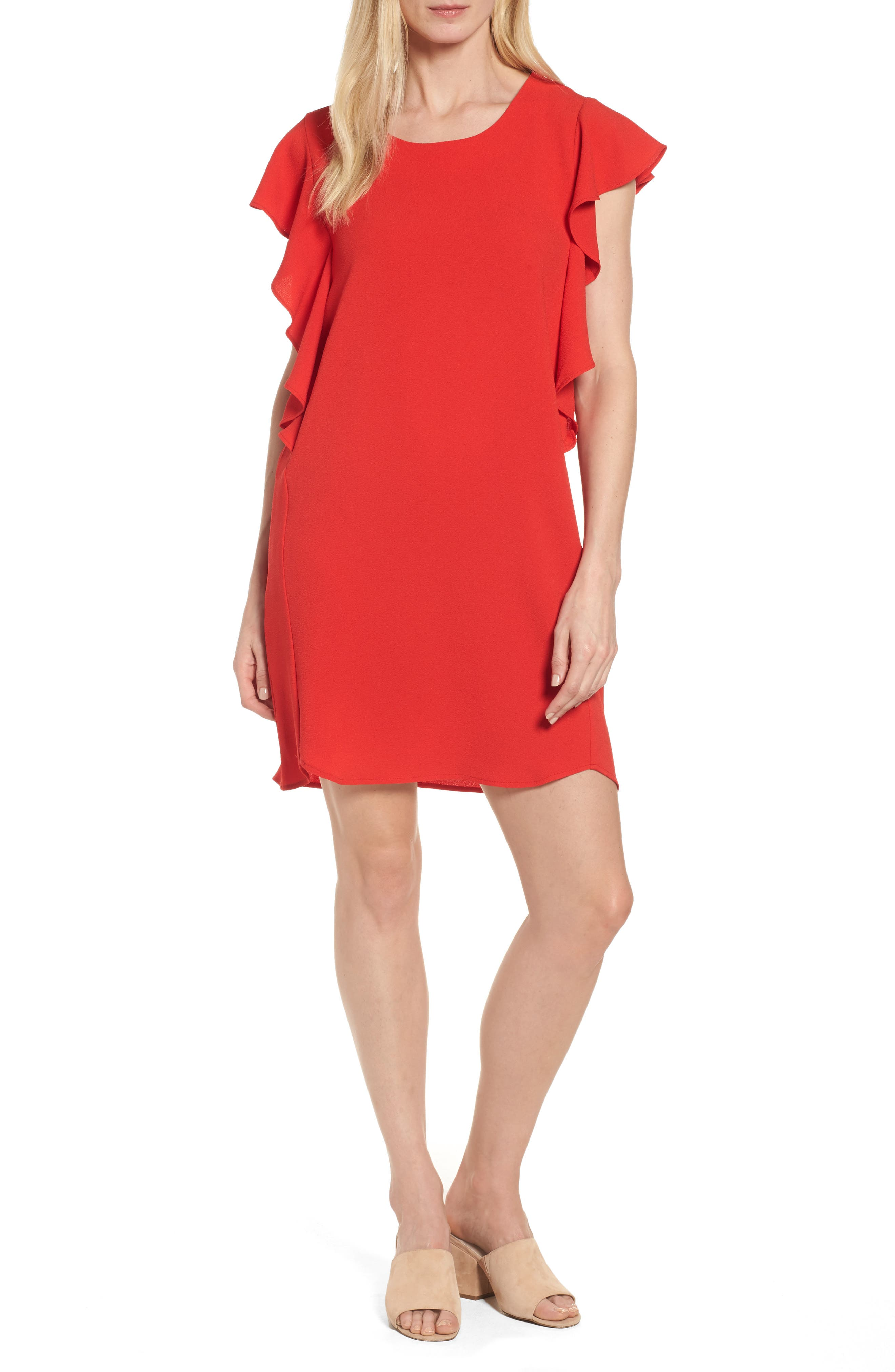 Bobeau Flutter Sleeve Shift Dress (Regular & Petite)