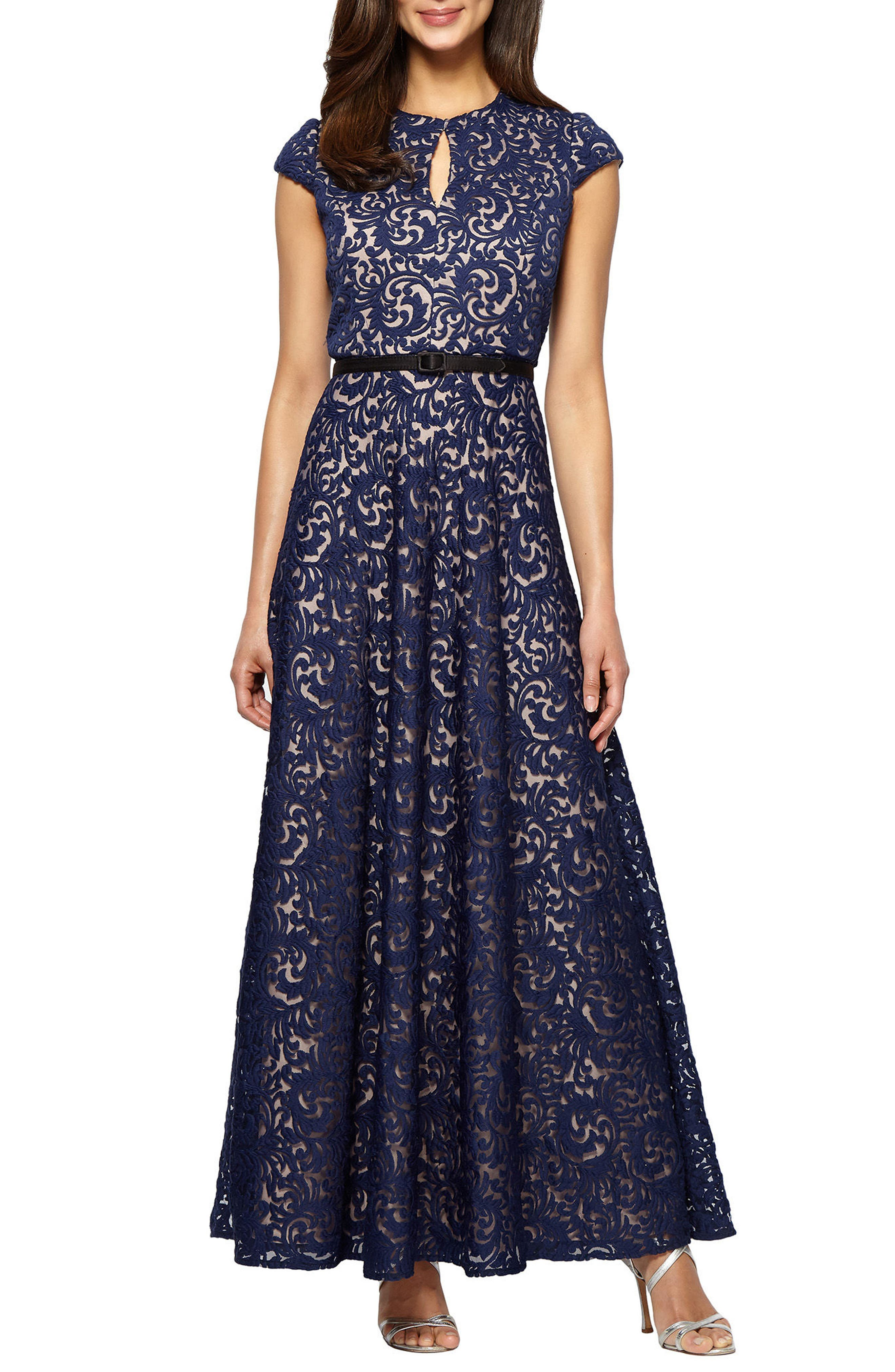 Embroidered Gown,                         Main,                         color, Navy/ Nude
