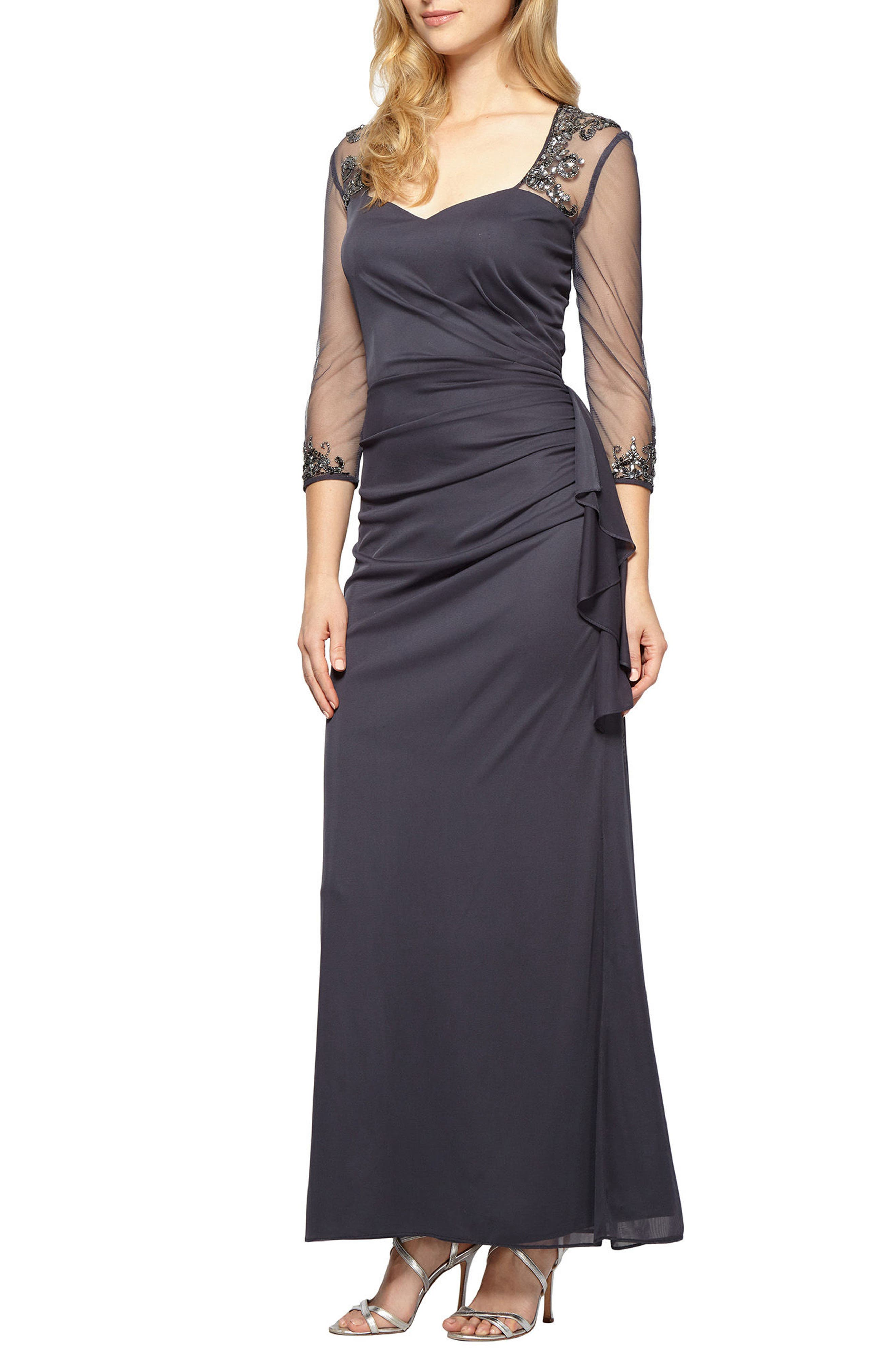 Embellished A-Line Gown,                             Main thumbnail 1, color,                             Charcoal