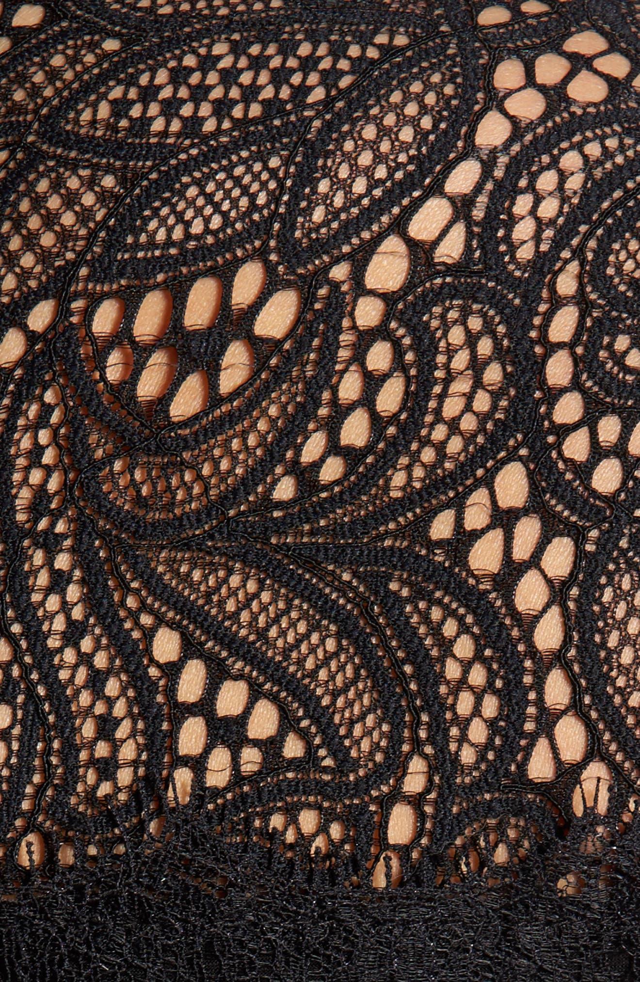 Flounce Sleeve Lace Dress,                             Alternate thumbnail 5, color,                             Black