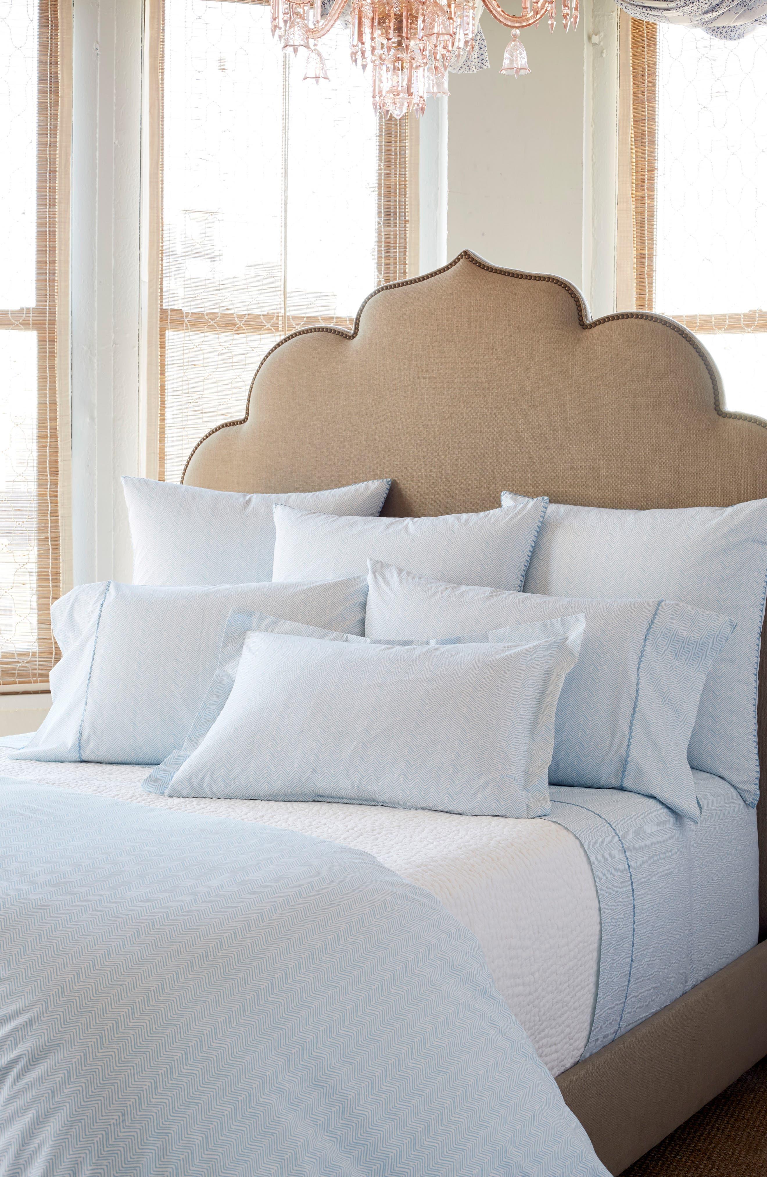 Chevron Combed Cotton Pillowcases,                             Alternate thumbnail 2, color,                             Light Indigo White