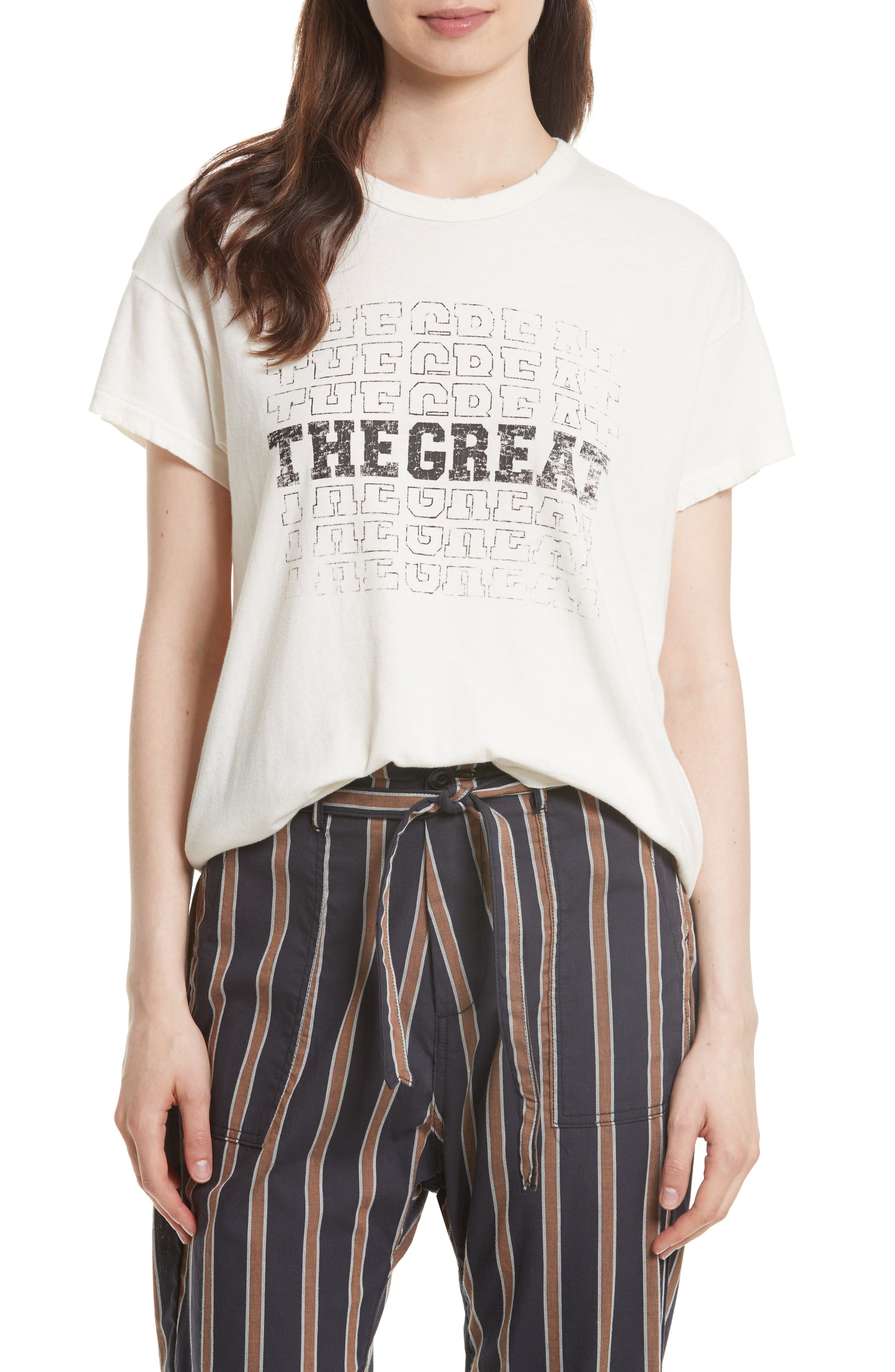 The Boxy Graphic Tee,                             Main thumbnail 1, color,                             Washed White W/ Black