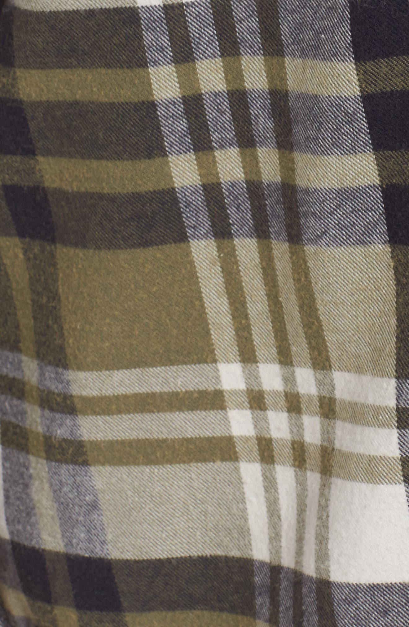 Plaid Cotton Blend Nightshirt,                             Alternate thumbnail 5, color,                             Olive Grove Pepper Plaid