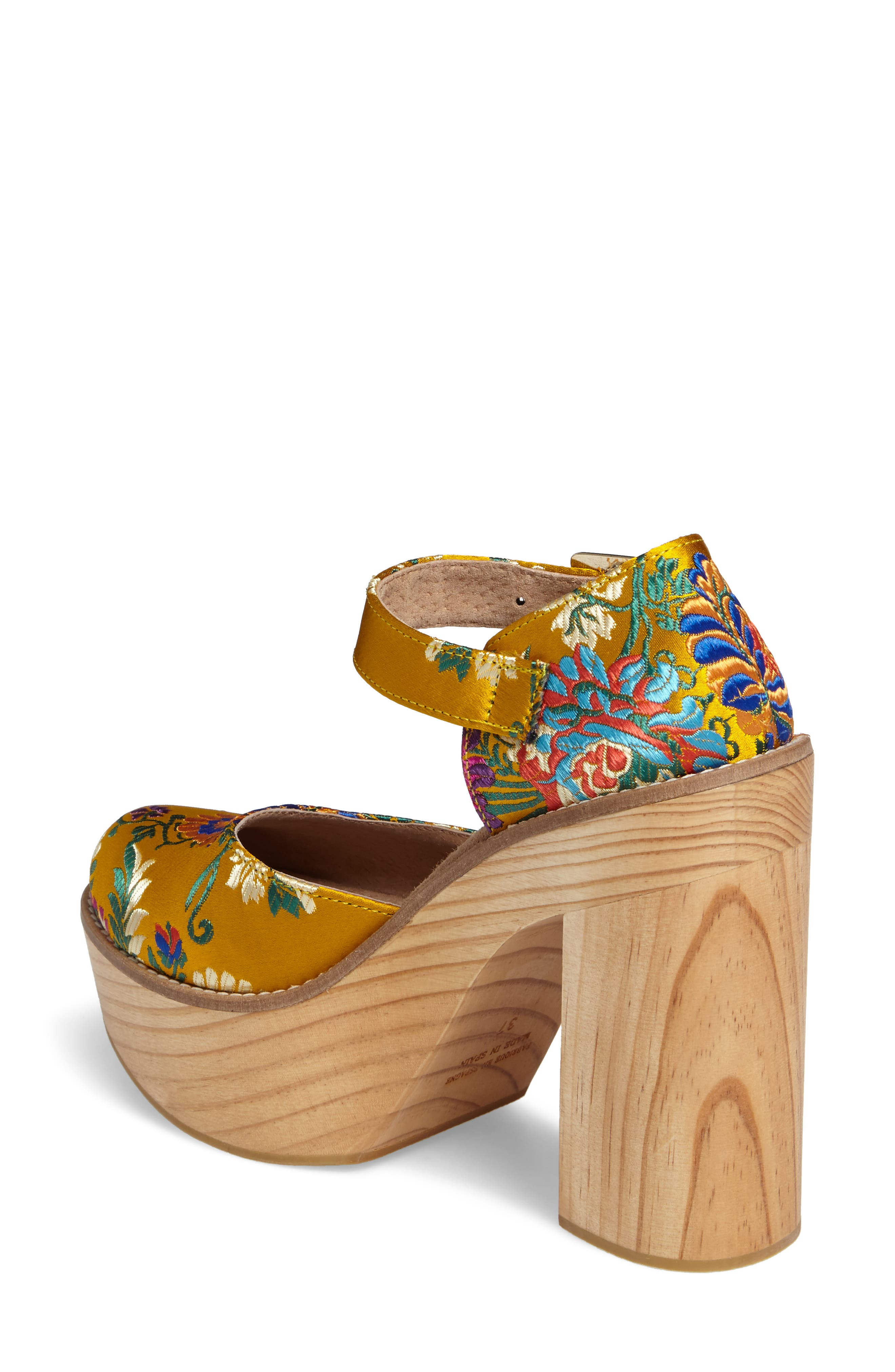 Starlet Embroidered Platform Pump,                             Alternate thumbnail 2, color,                             Yellow