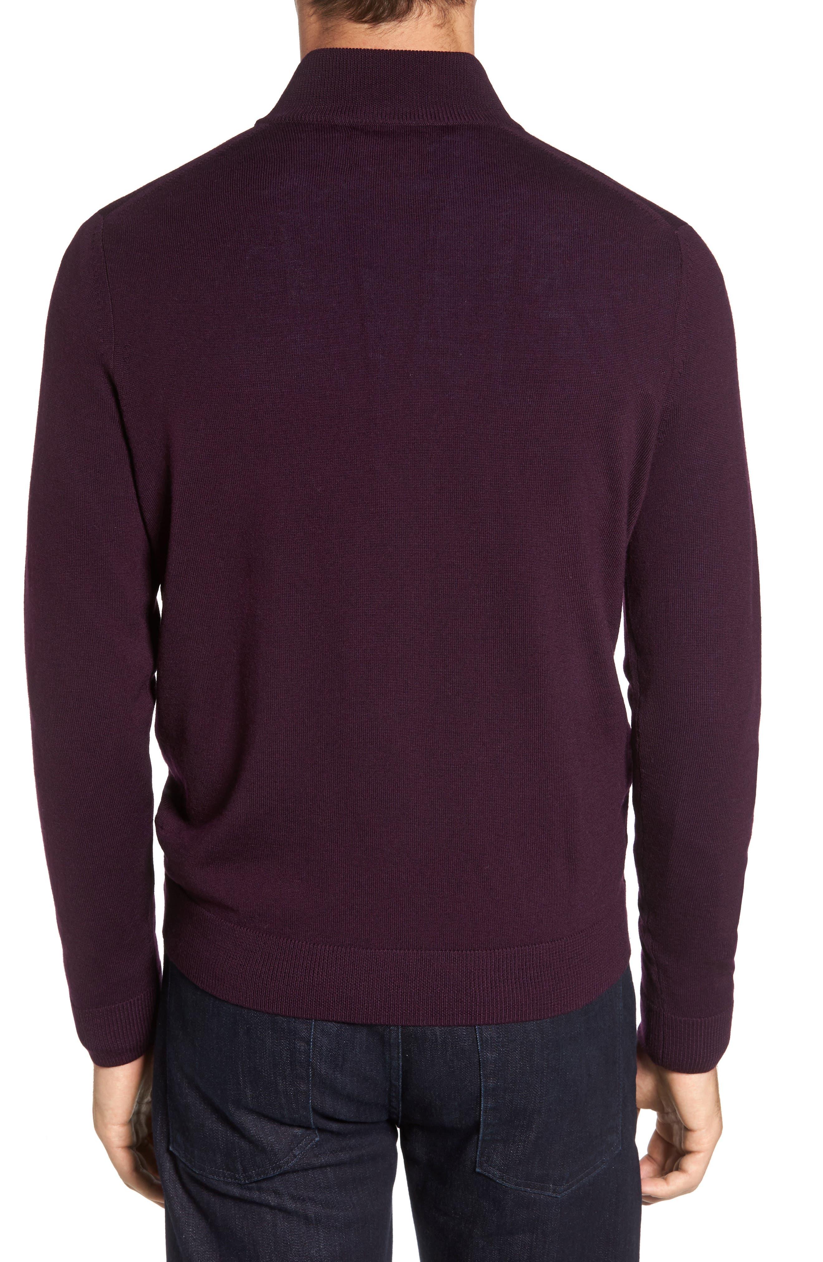 Quarter Zip Wool Pullover,                             Alternate thumbnail 2, color,                             Purple Plum