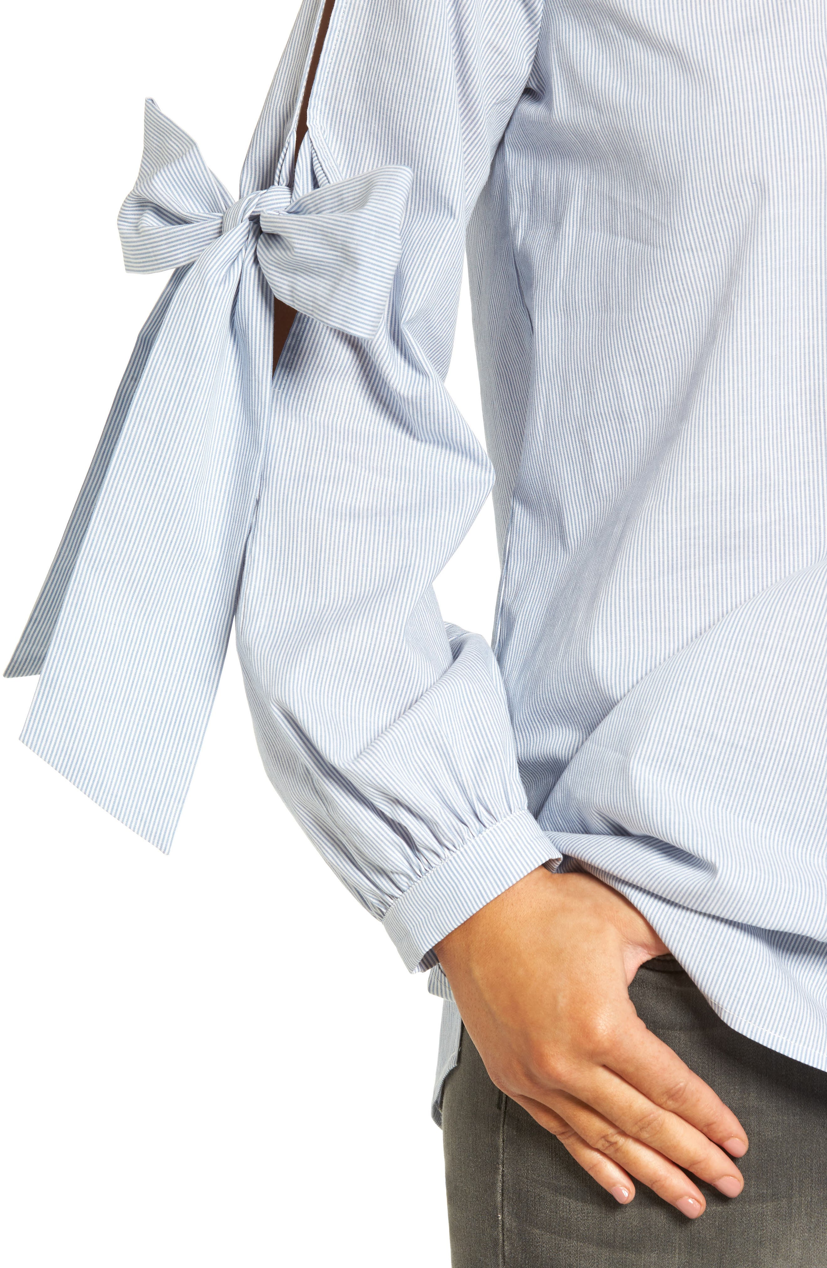 Alternate Image 4  - Pleione Tie Sleeve Poplin Blouse (Regular & Petite)
