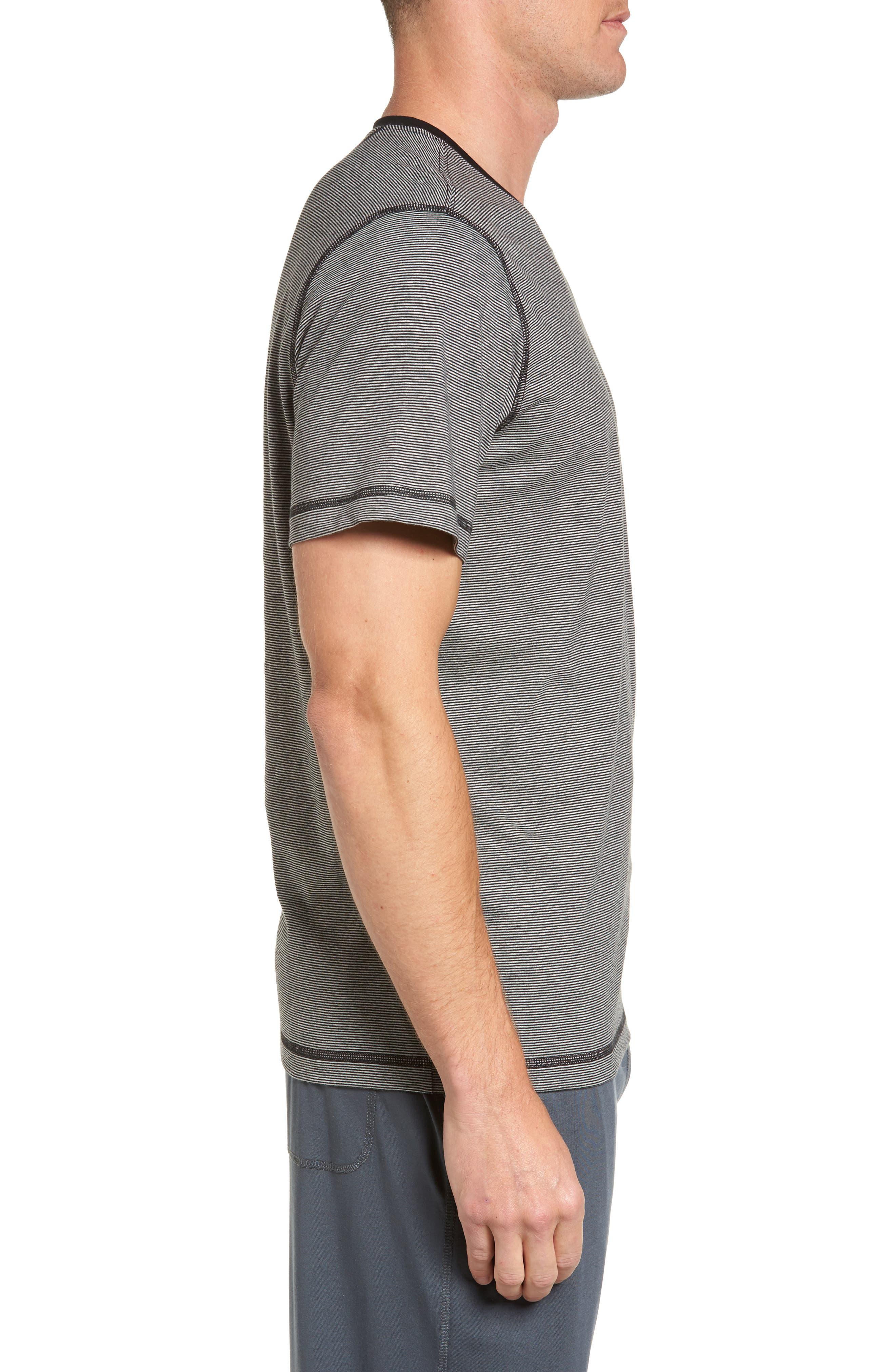 Peruvian Pima Cotton T-Shirt,                             Alternate thumbnail 3, color,                             Black/ Grey Heather