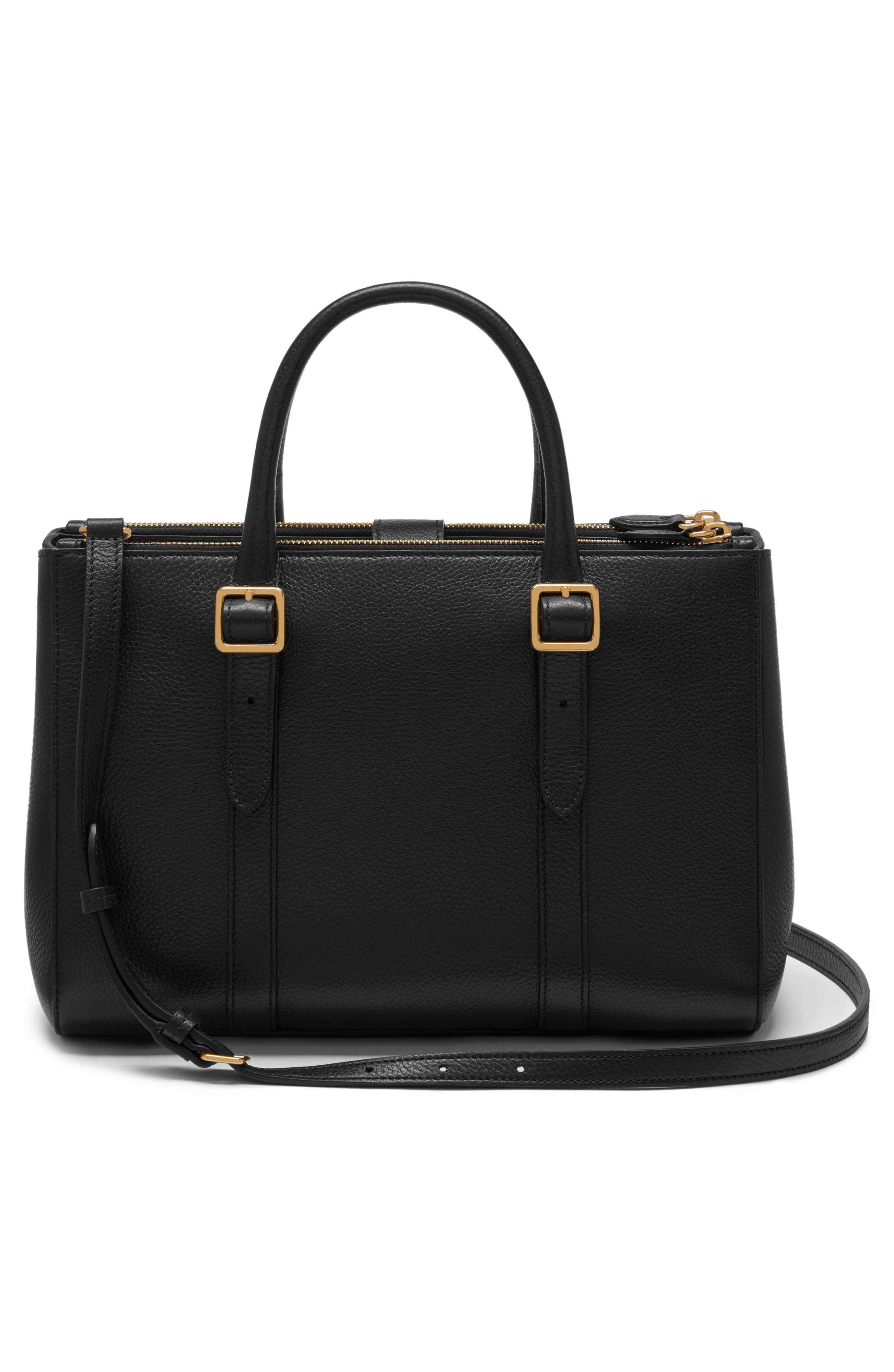 Small Bayswater Double Zip Leather Satchel,                             Alternate thumbnail 2, color,                             Black