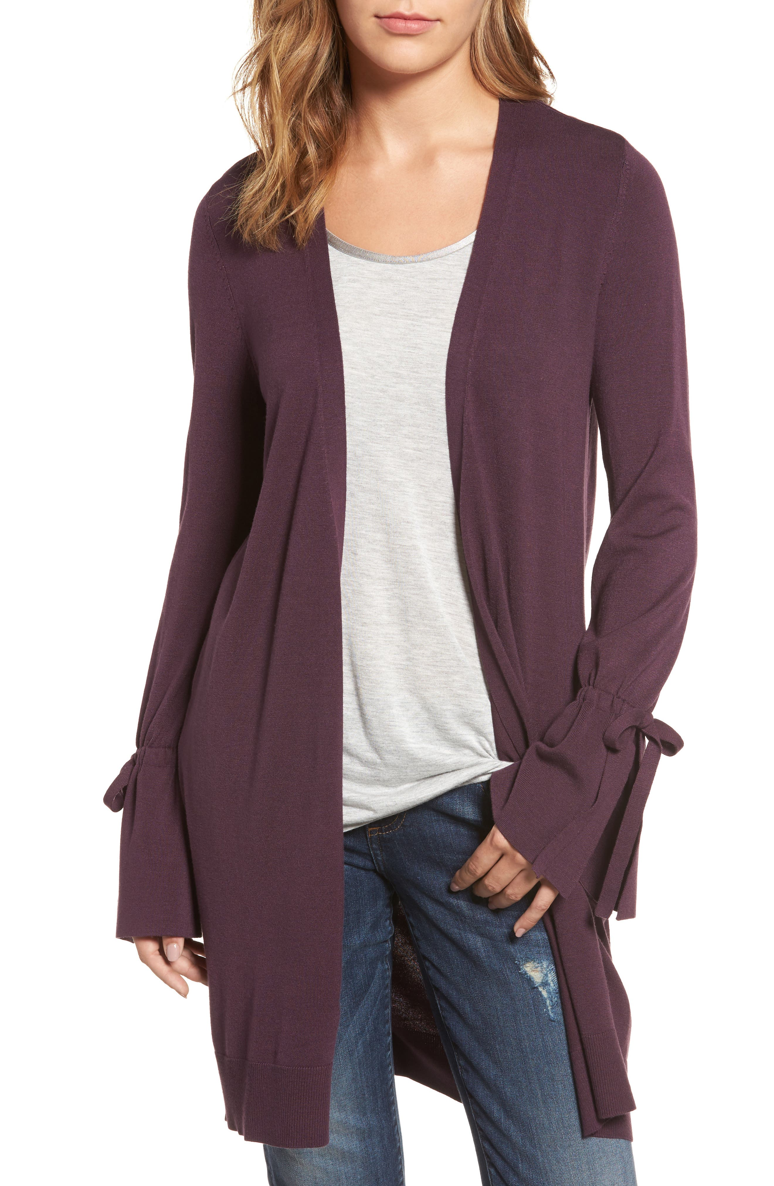 Lightweight Tie Sleeve Cardigan,                         Main,                         color, Purple Plum