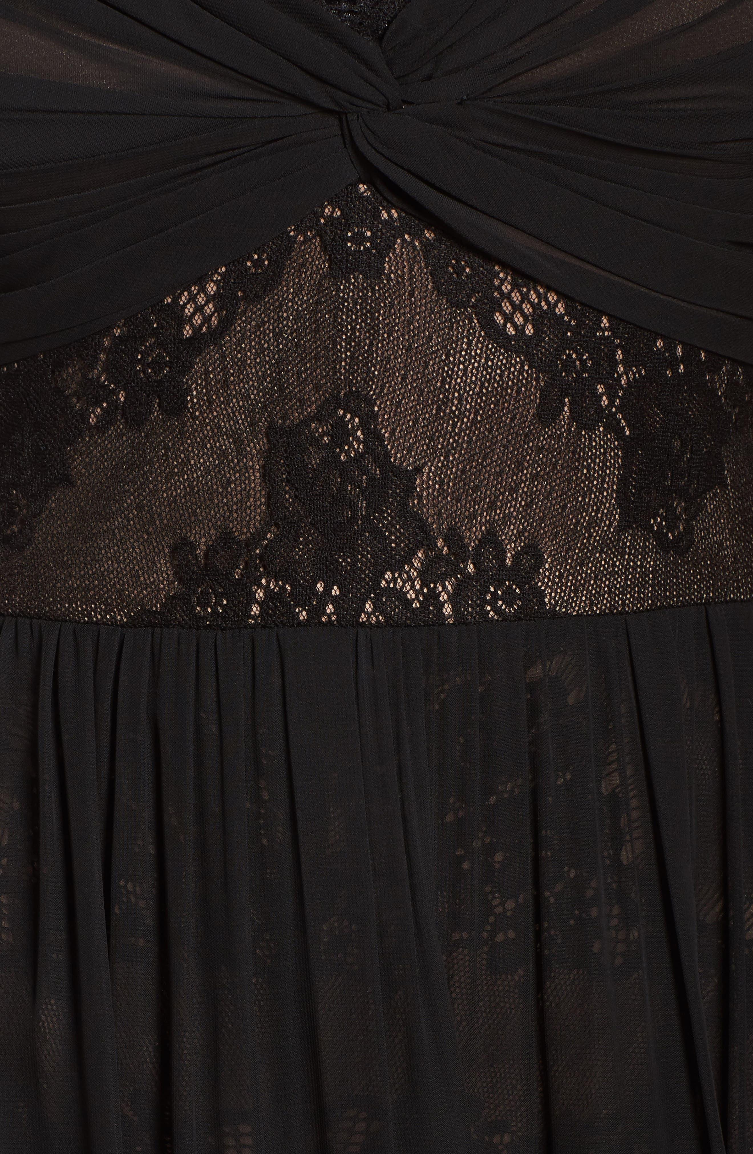Lace Detail Gown,                             Alternate thumbnail 5, color,                             Black Nude