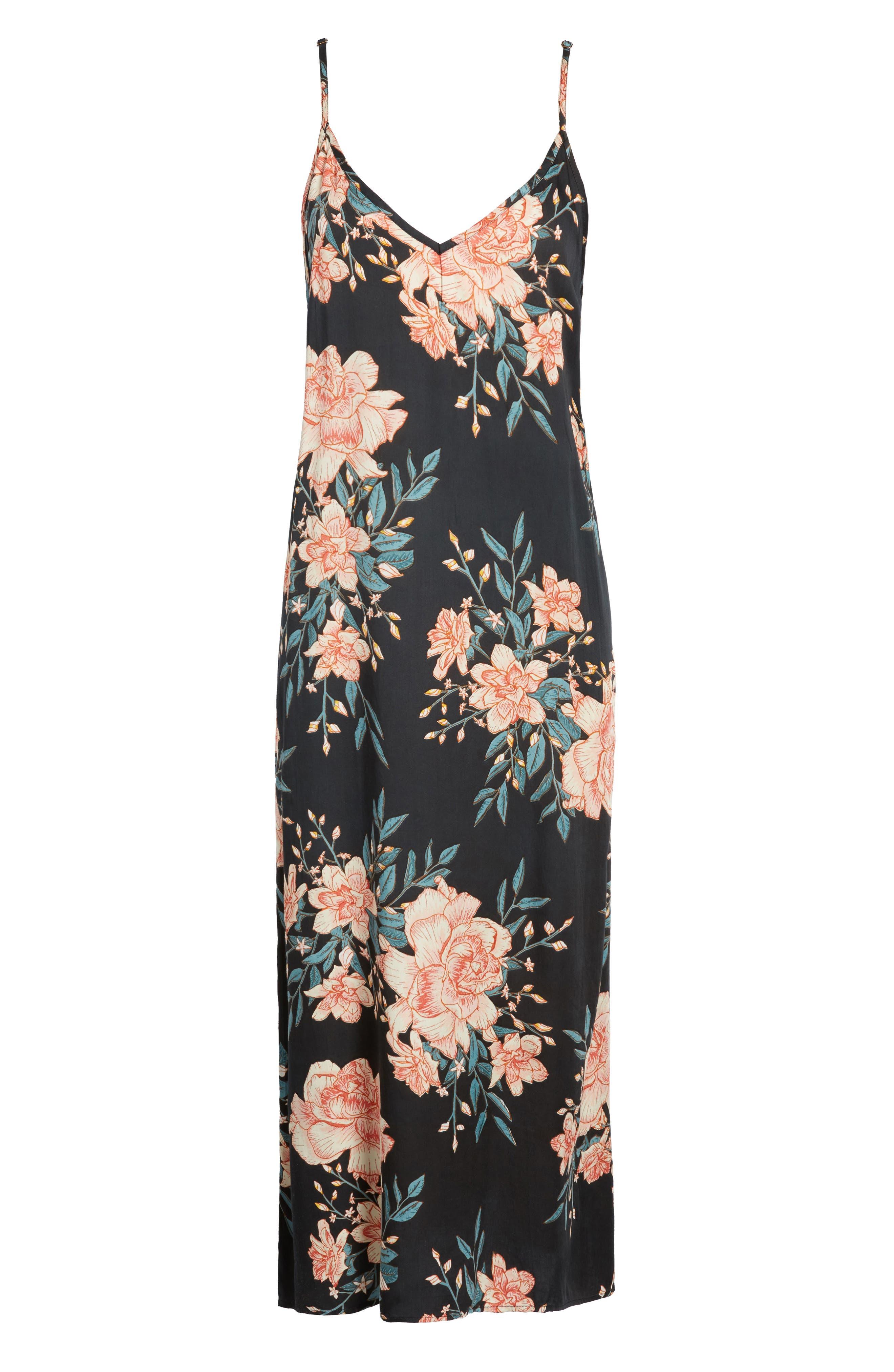Dreamy Garden Print Dress,                             Alternate thumbnail 6, color,                             Black