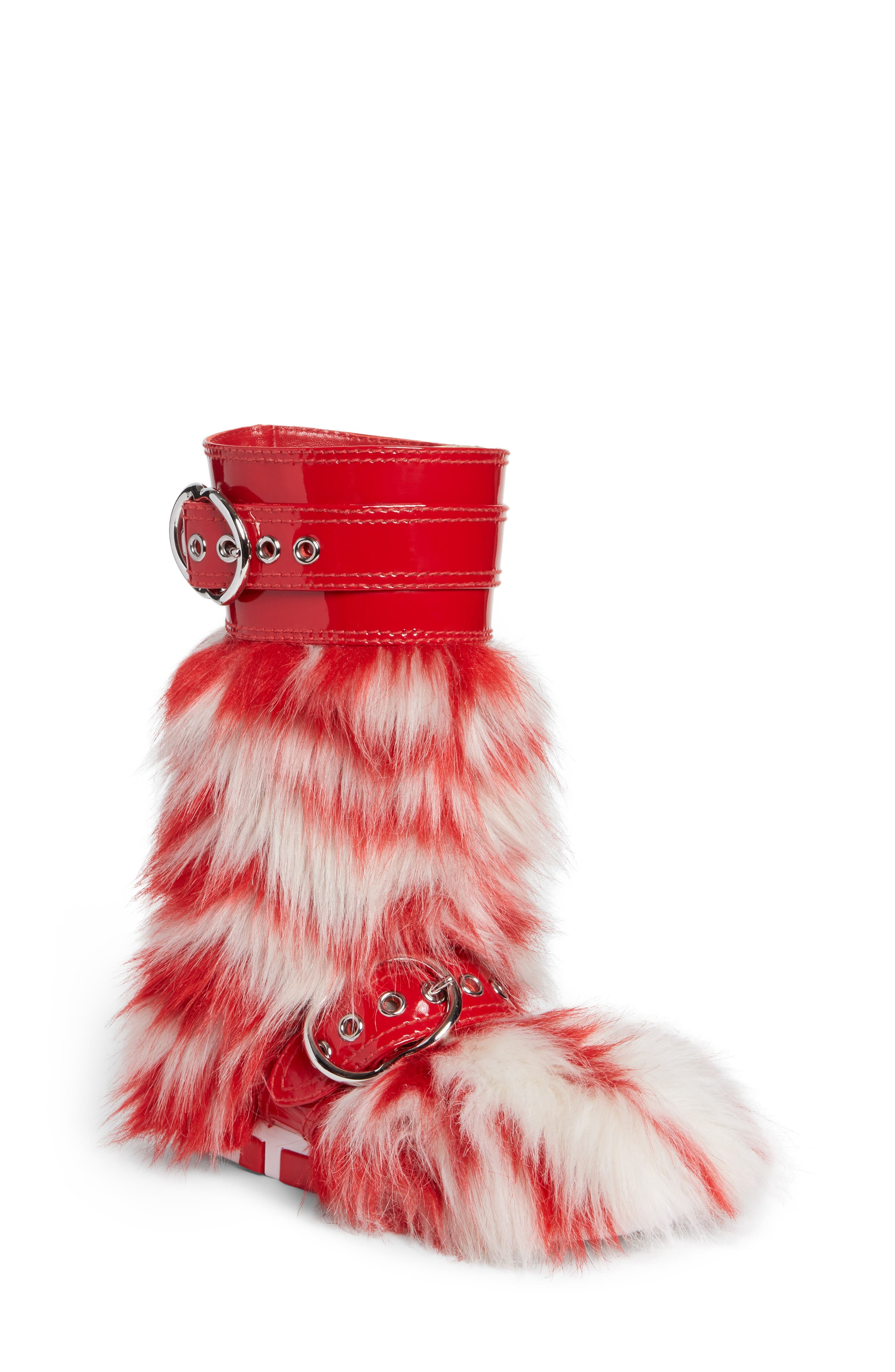 Faux Fur Boot,                         Main,                         color, Red/ White