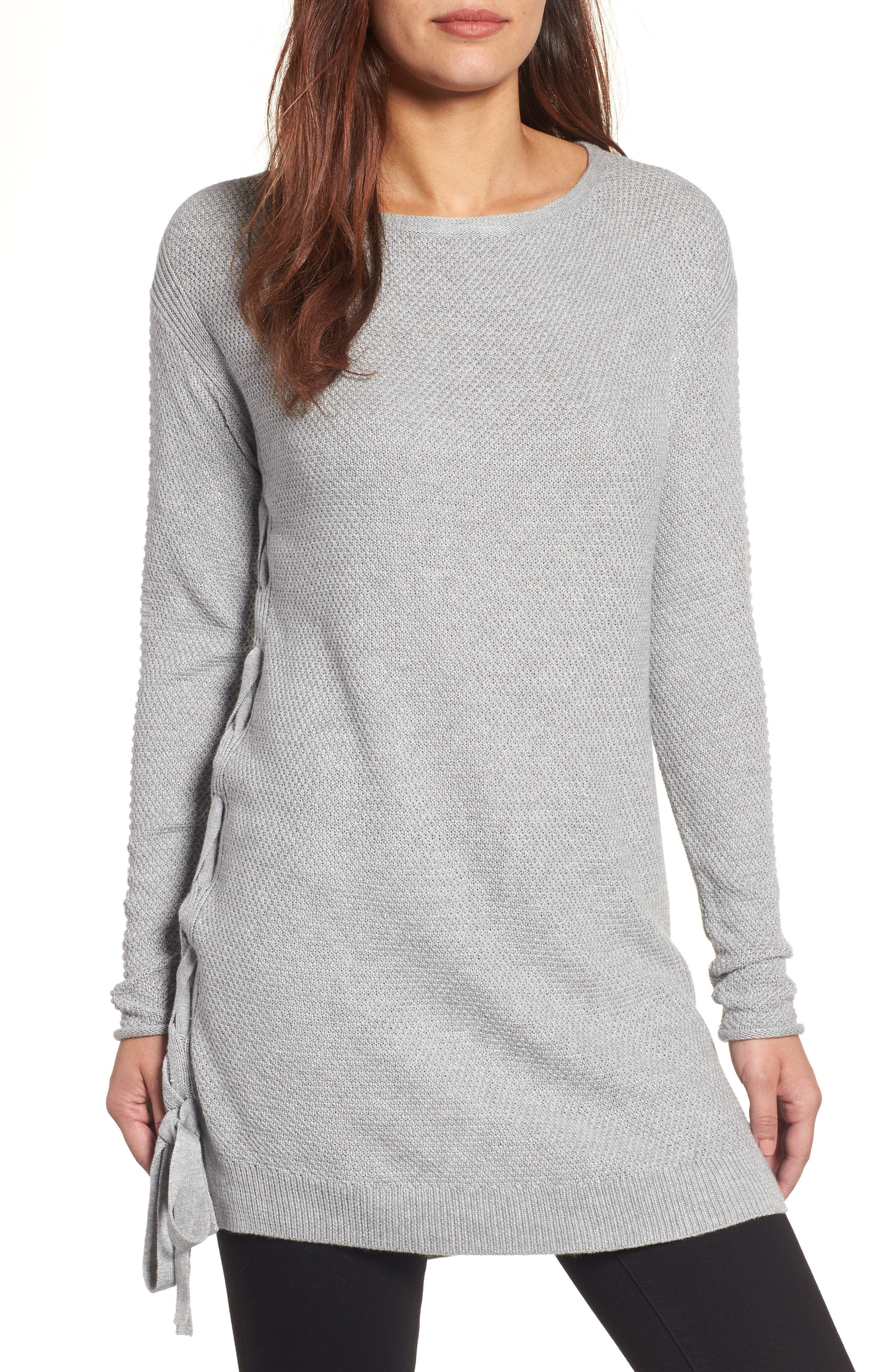 Side Tie Seed Stitch Tunic Top,                             Main thumbnail 1, color,                             Heather Grey