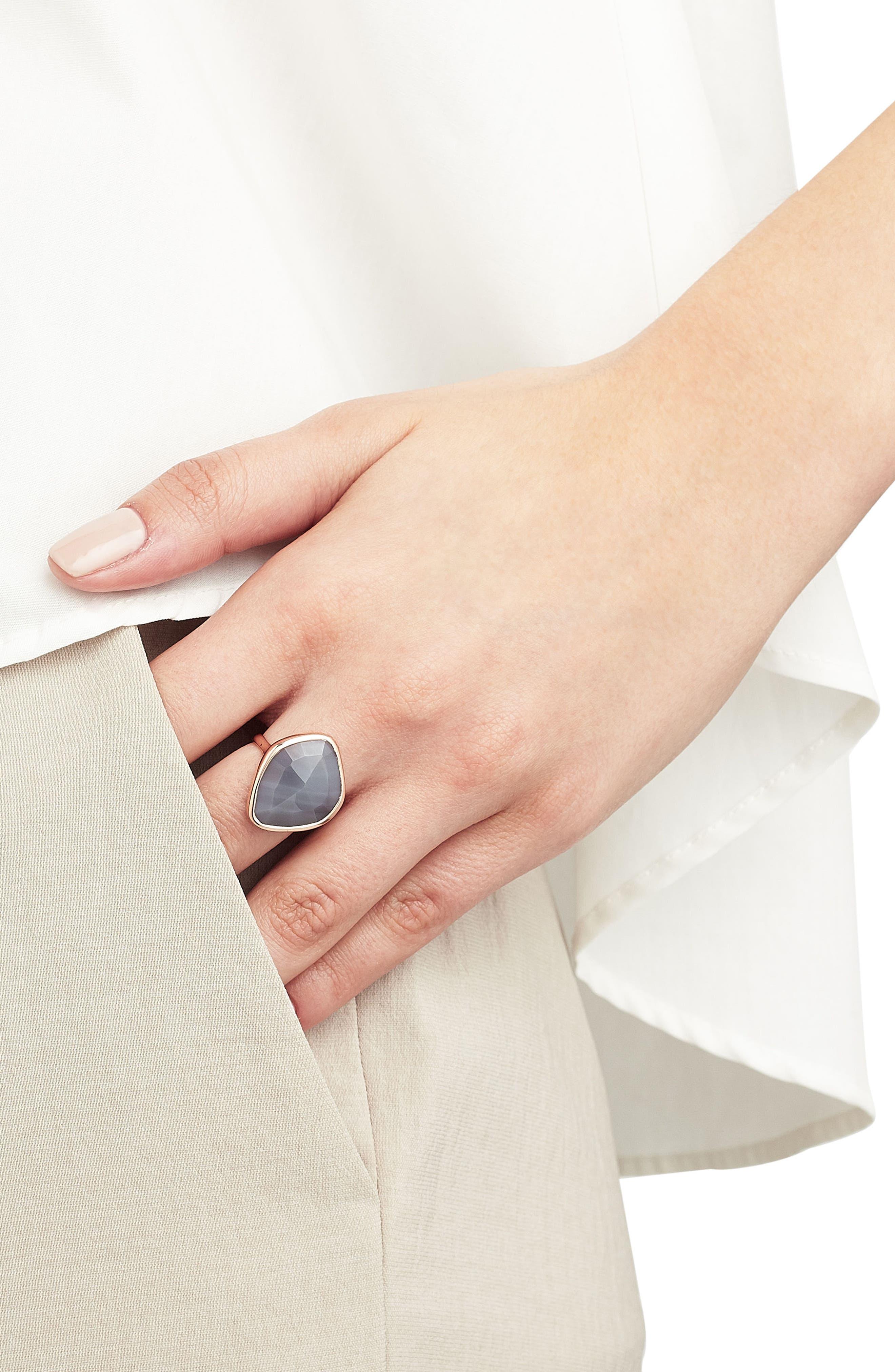 Siren Nugget Semiprecious Stone Ring,                             Alternate thumbnail 2, color,                             Grey Agate/ Rose Gold