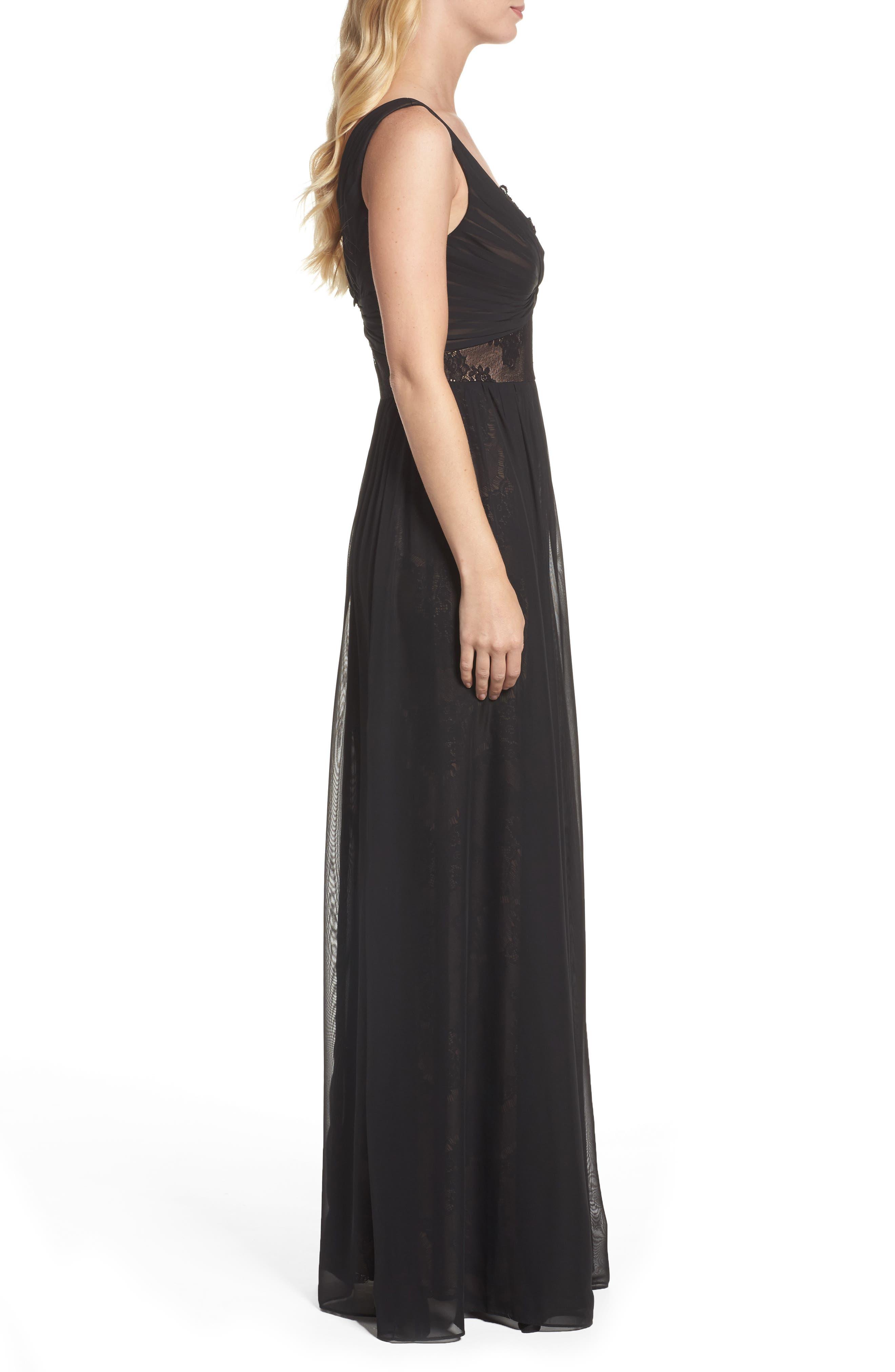 Lace Detail Gown,                             Alternate thumbnail 3, color,                             Black Nude