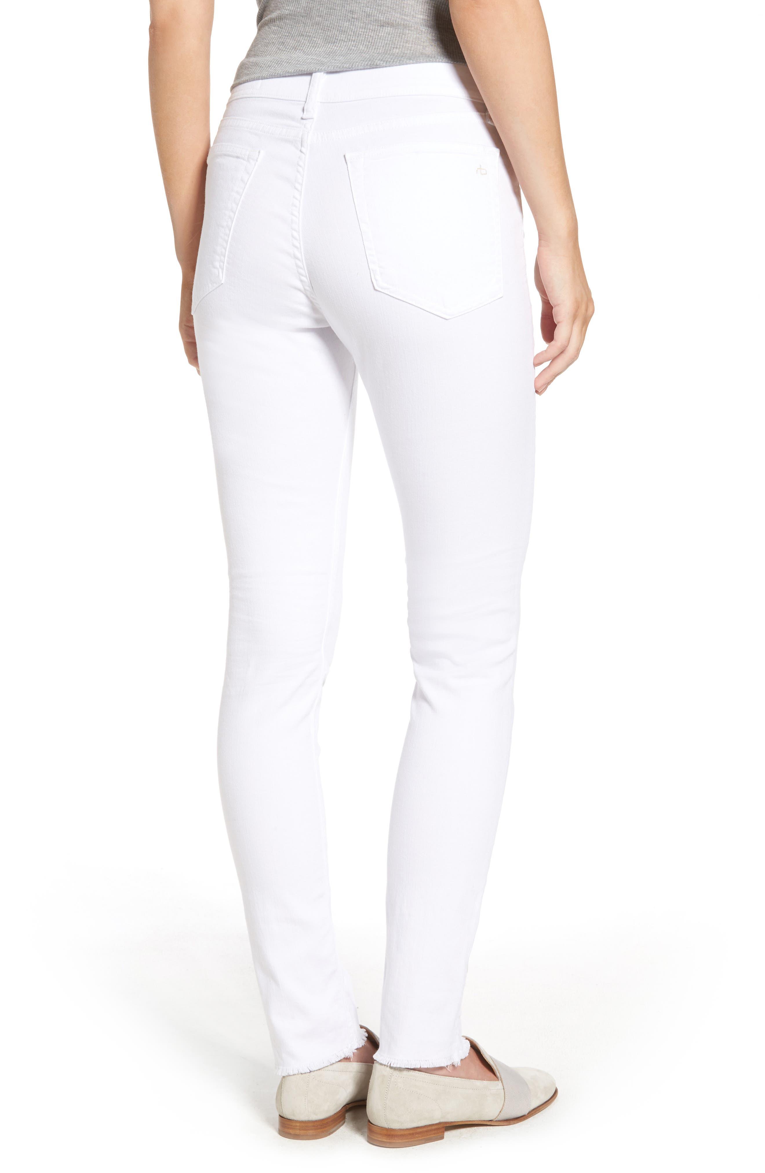 High Waist Step Hem Slim Boyfriend Jeans,                             Alternate thumbnail 2, color,                             Aged Bright White