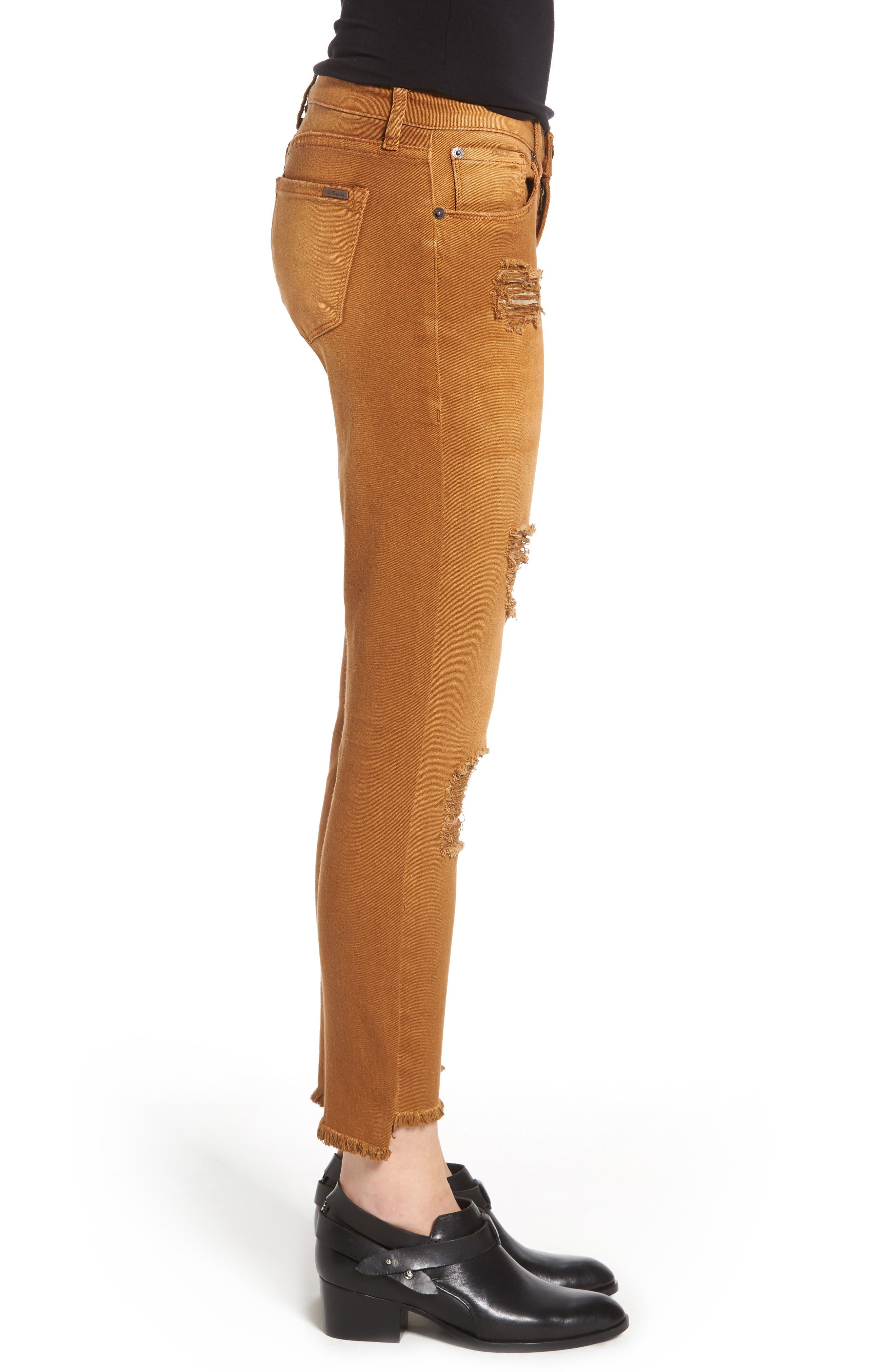 Step Hem Skinny Jeans,                             Alternate thumbnail 3, color,                             Cinnamon