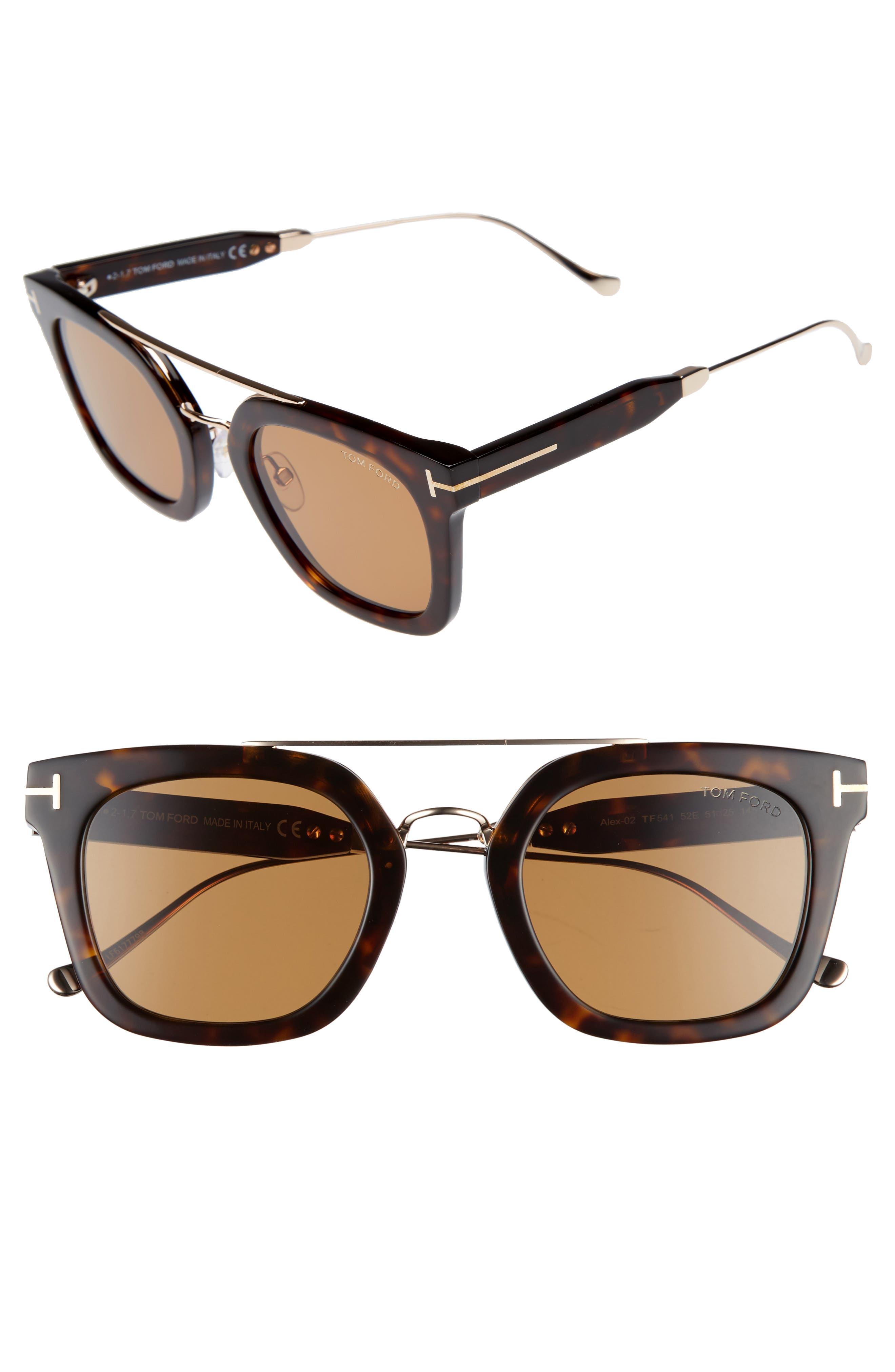 Alex 51mm Sunglasses,                             Main thumbnail 1, color,                             Dark Havana / Brown
