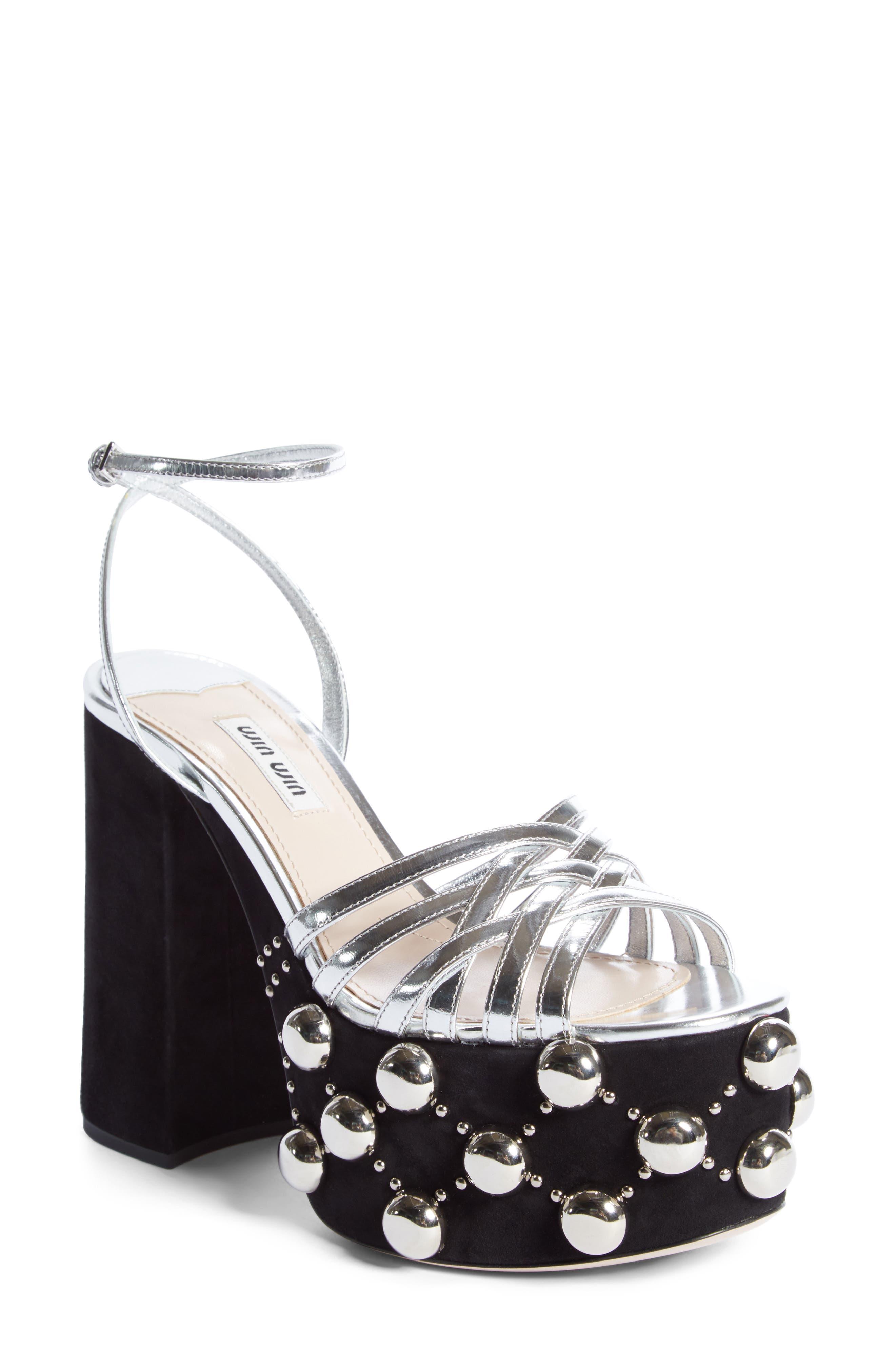 Alternate Image 1 Selected - Miu Miu Studded Platform Sandal (Women)