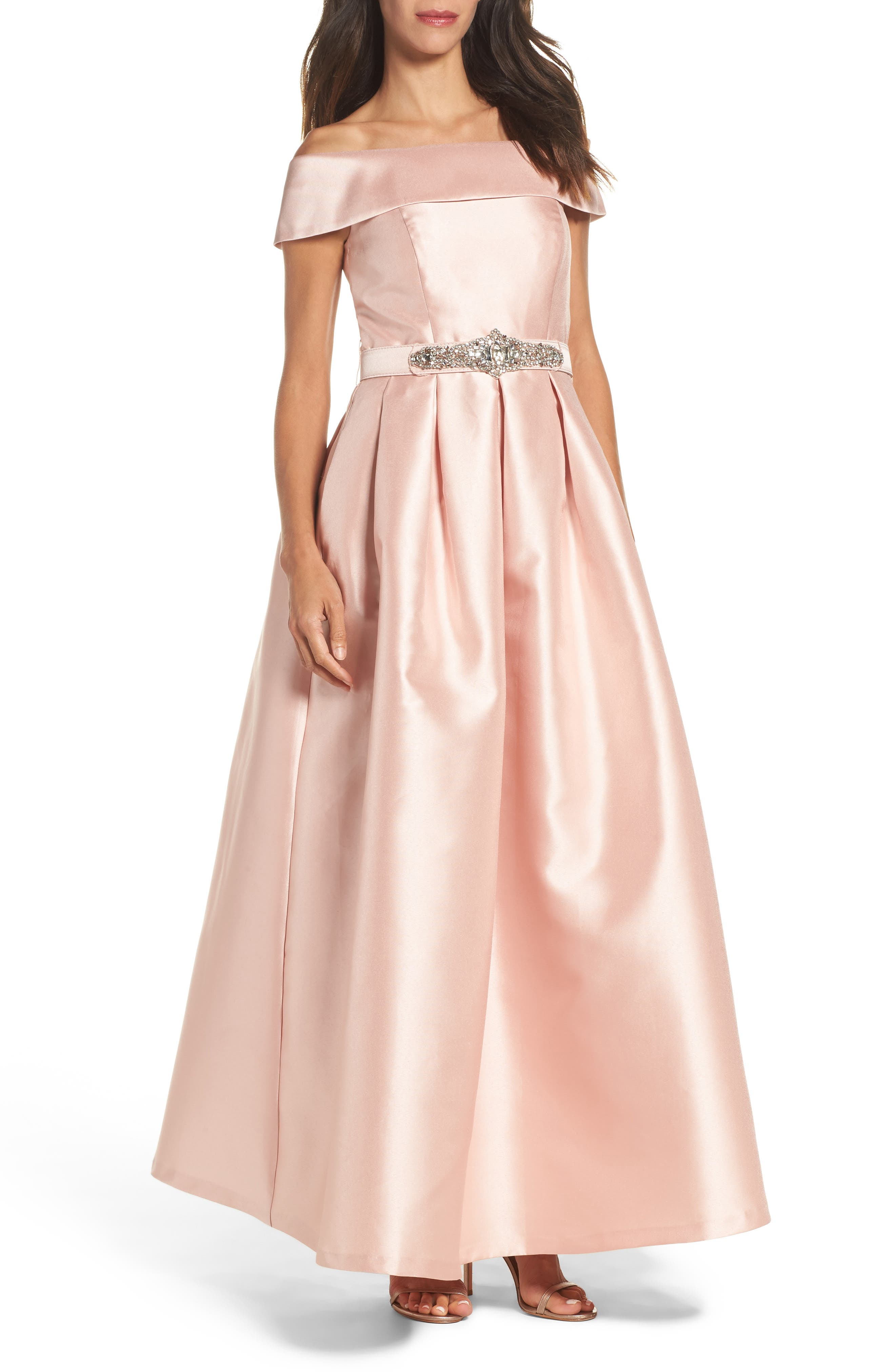 Belted Mikado Ballgown,                         Main,                         color, Blush