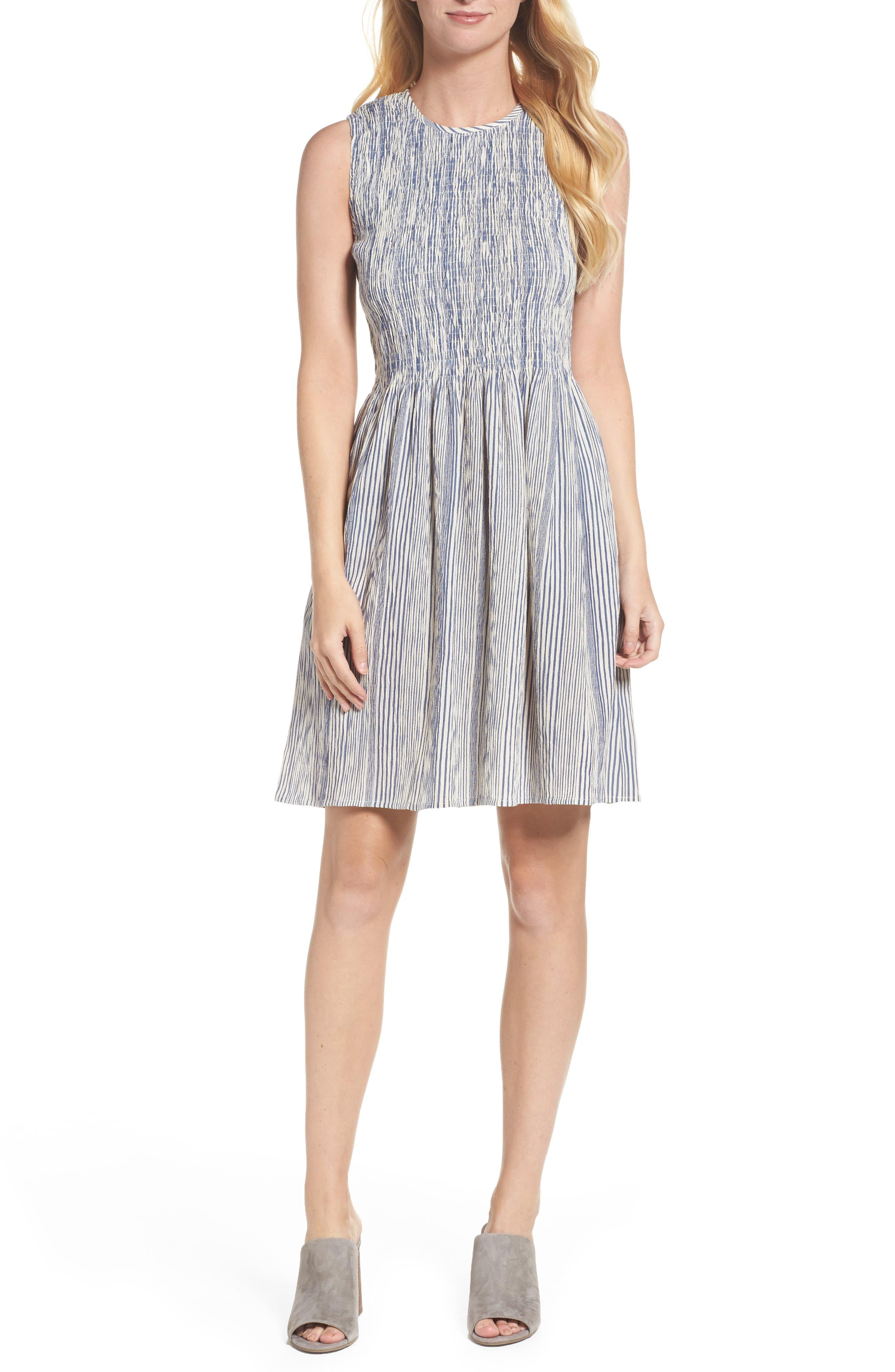 Serge Smocked Dress,                             Main thumbnail 1, color,                             Indian Ocean