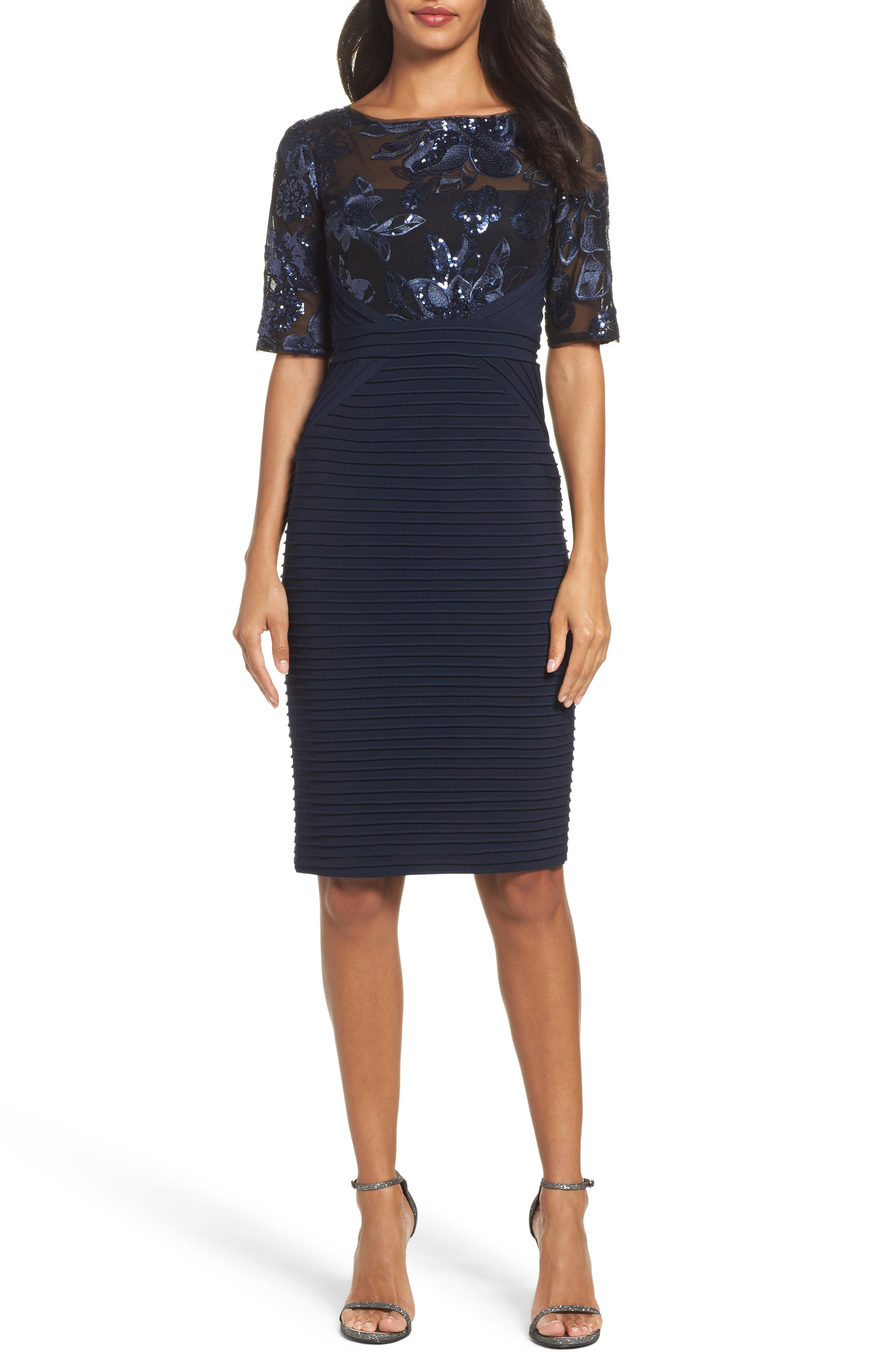 Floral Sequin & Jersey Sheath Dress,                         Main,                         color, Navy