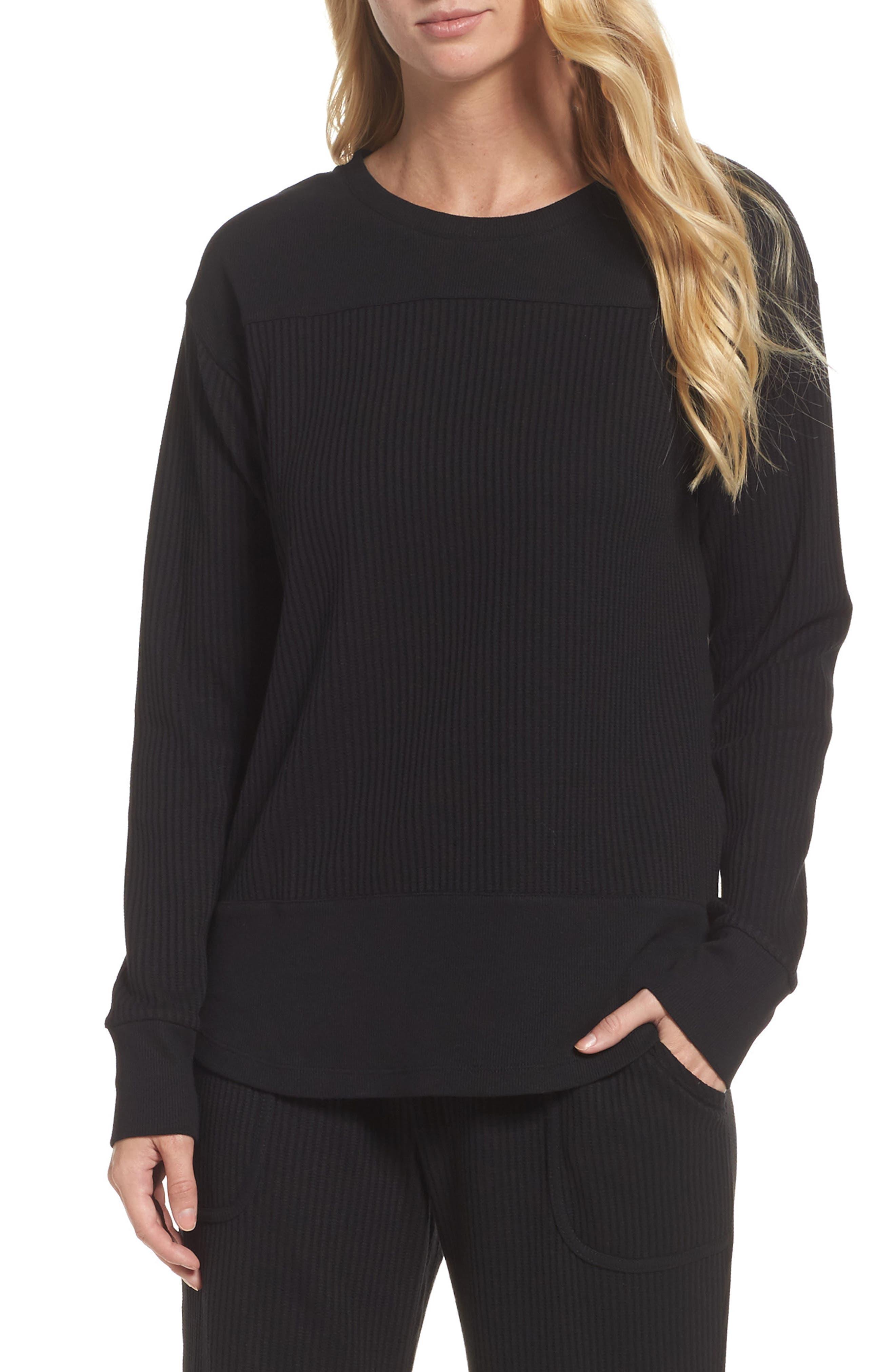 Long Sleeve Sleep Shirt,                         Main,                         color, Black