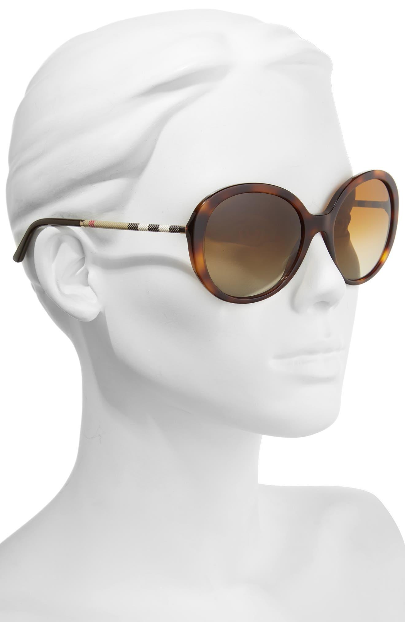 Alternate Image 2  - Burberry 57mm Check Temple Polarized Round Frame Sunglasses