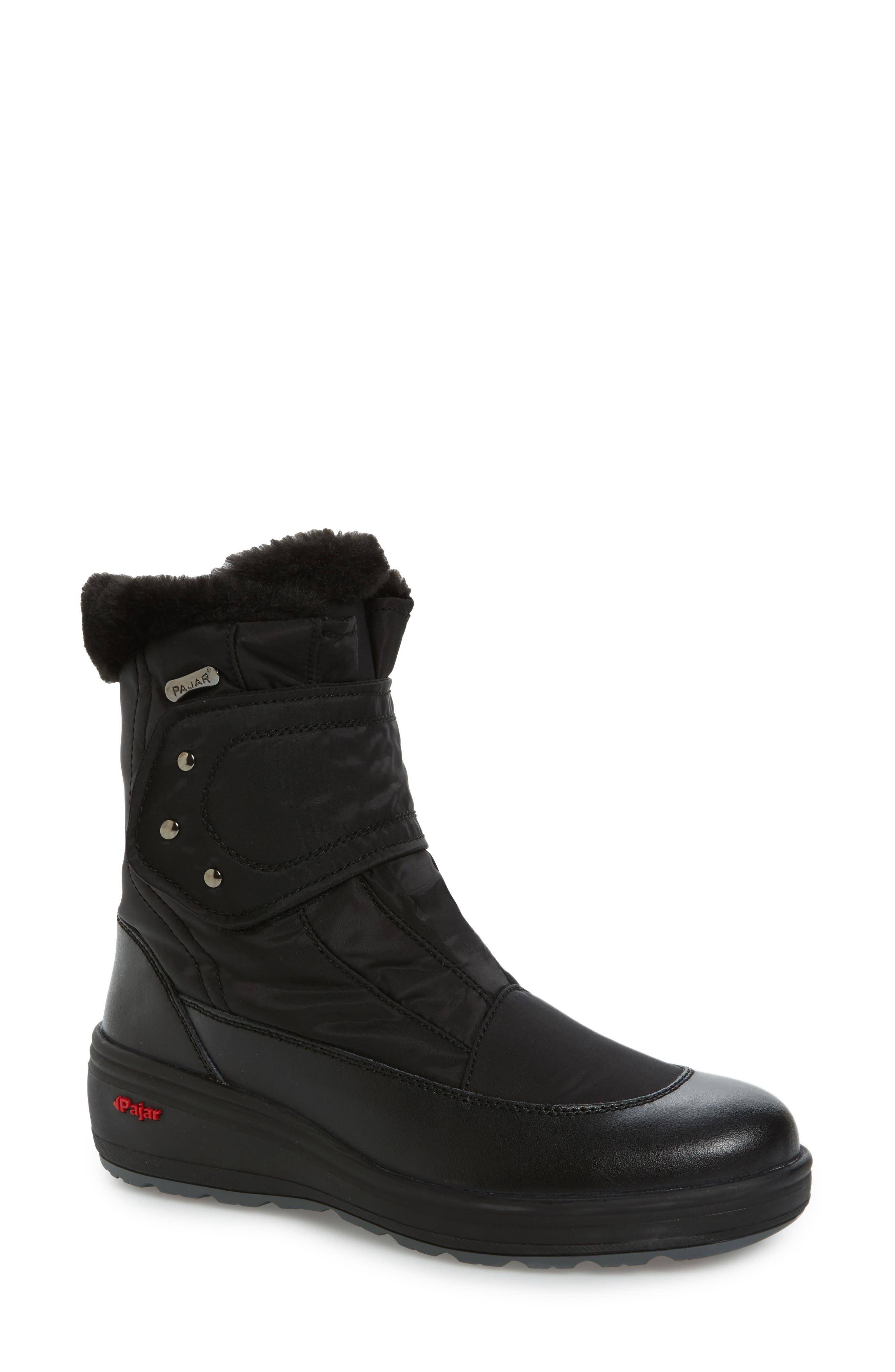 Samara Waterproof Insulated Boot with Faux Fur Lining,                             Main thumbnail 1, color,                             Black Leather