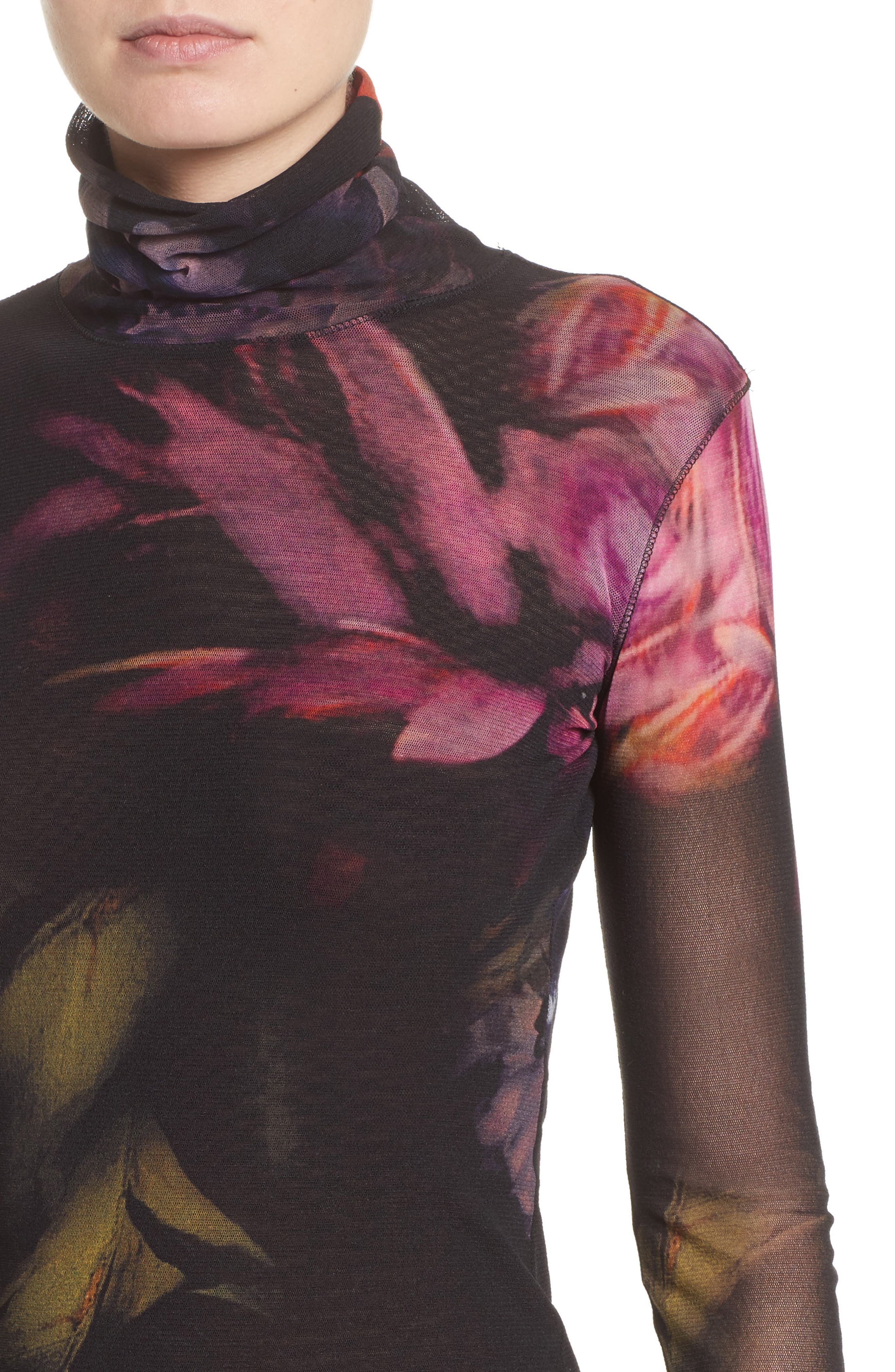 Alternate Image 4  - Fuzzi Floral Print Tulle Turtleneck Top