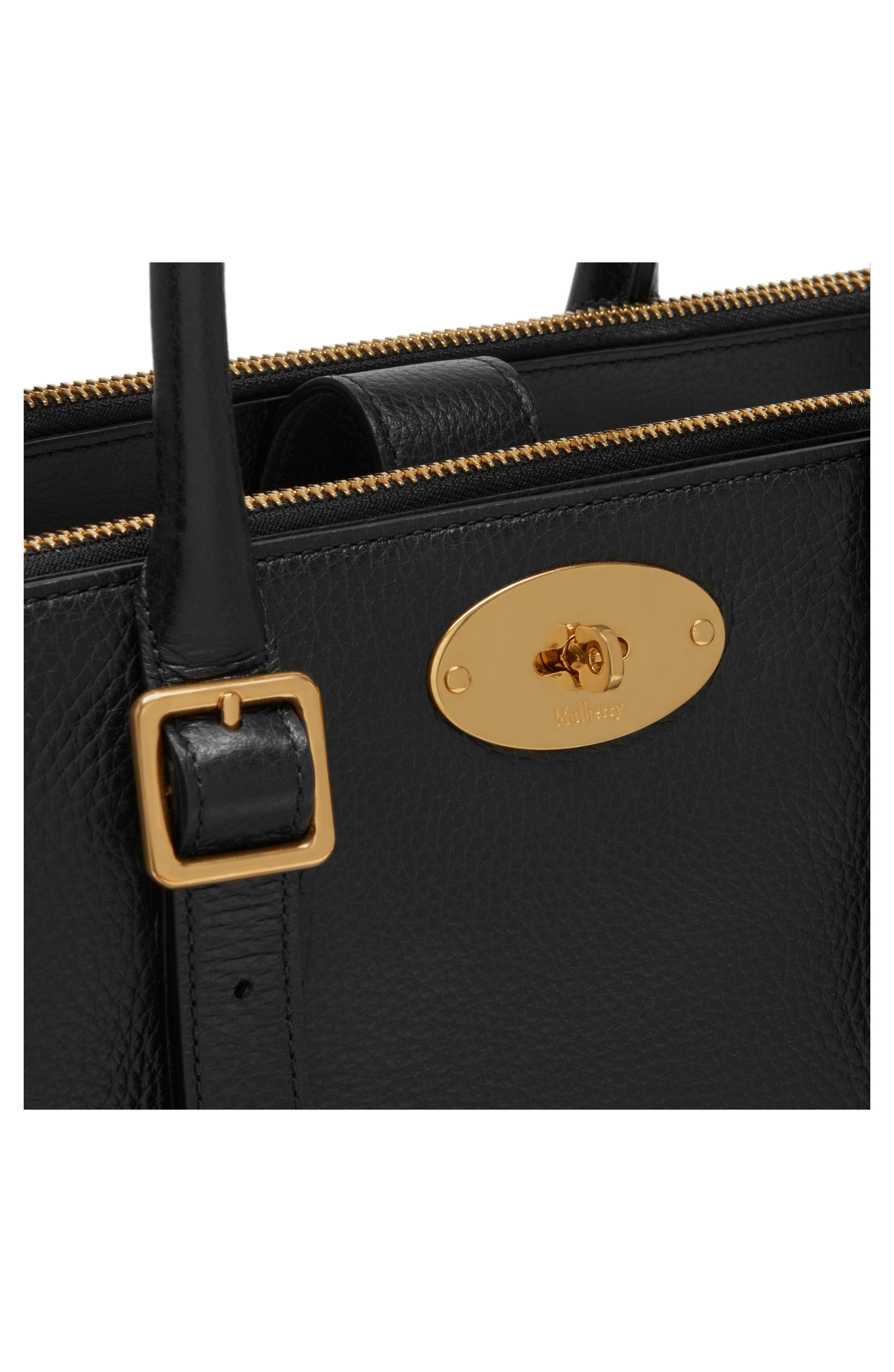 Small Bayswater Double Zip Leather Satchel,                             Alternate thumbnail 4, color,                             Black