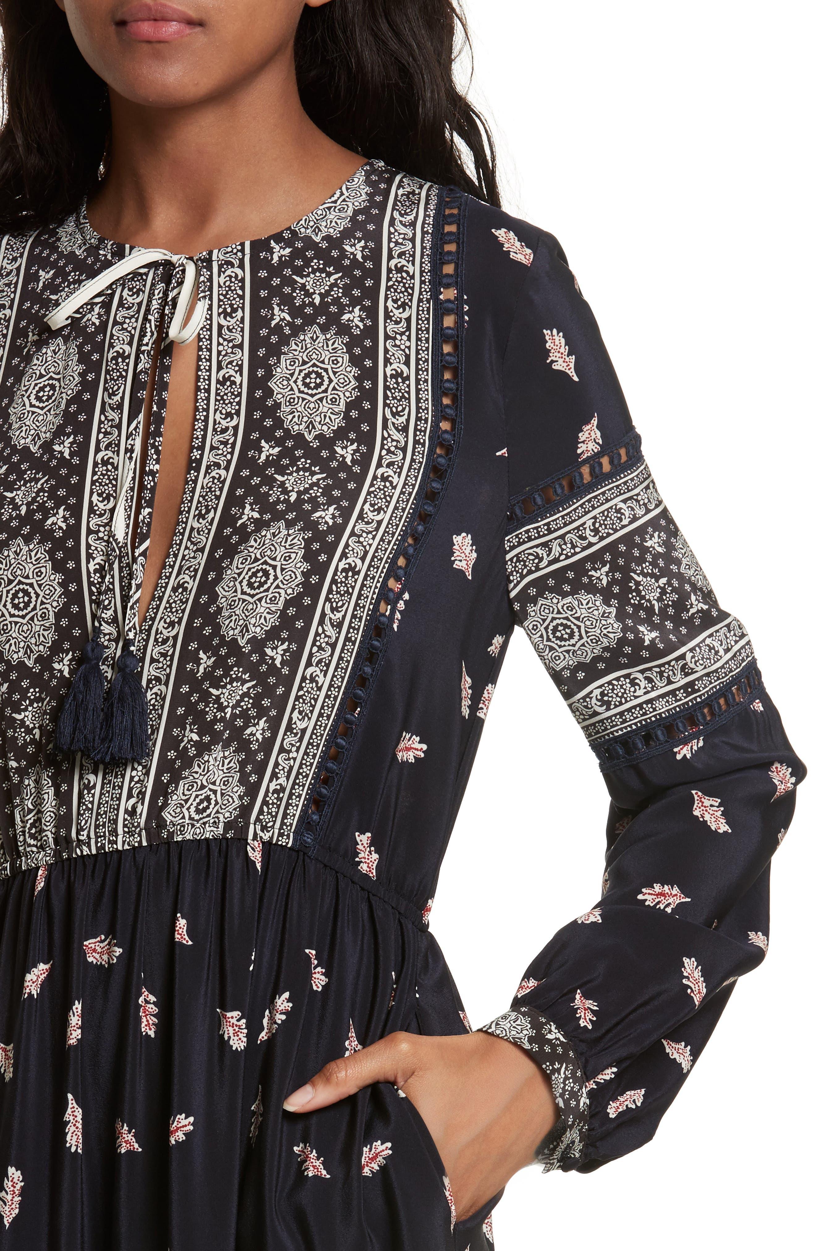 Eloise Print Silk Maxi Dress,                             Alternate thumbnail 4, color,                             Navy/ Red/ Cream Multi