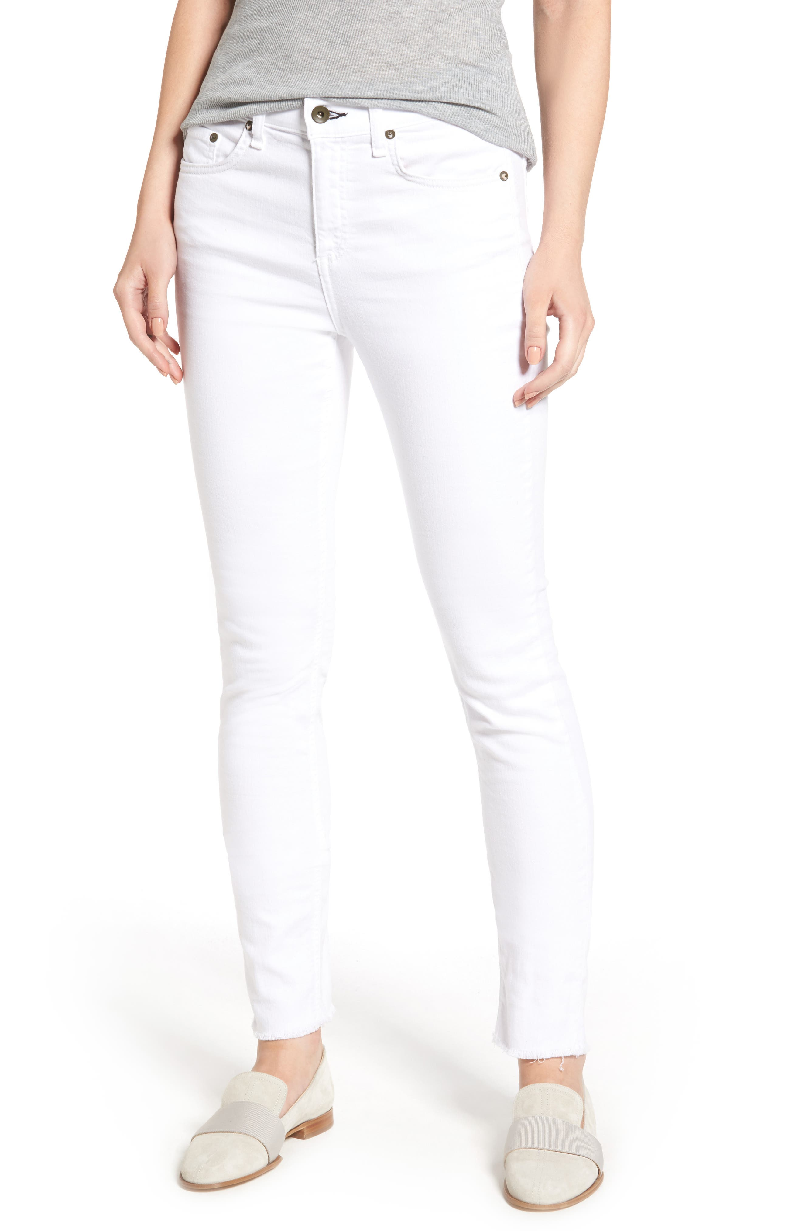 High Waist Step Hem Slim Boyfriend Jeans,                             Main thumbnail 1, color,                             Aged Bright White