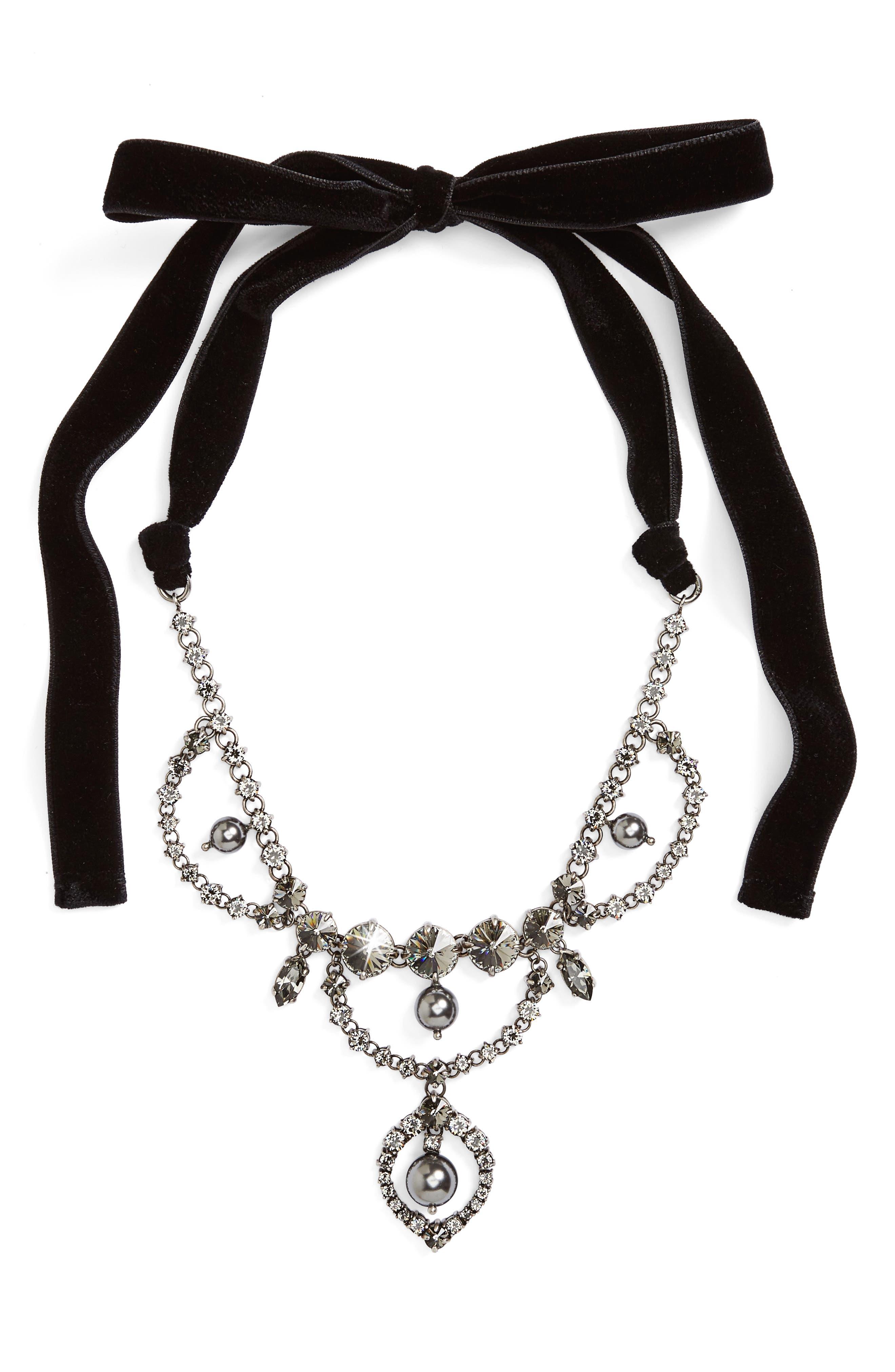 Fume Imitation Pearl & Ribbon Statement Necklace,                         Main,                         color, Dark Grey