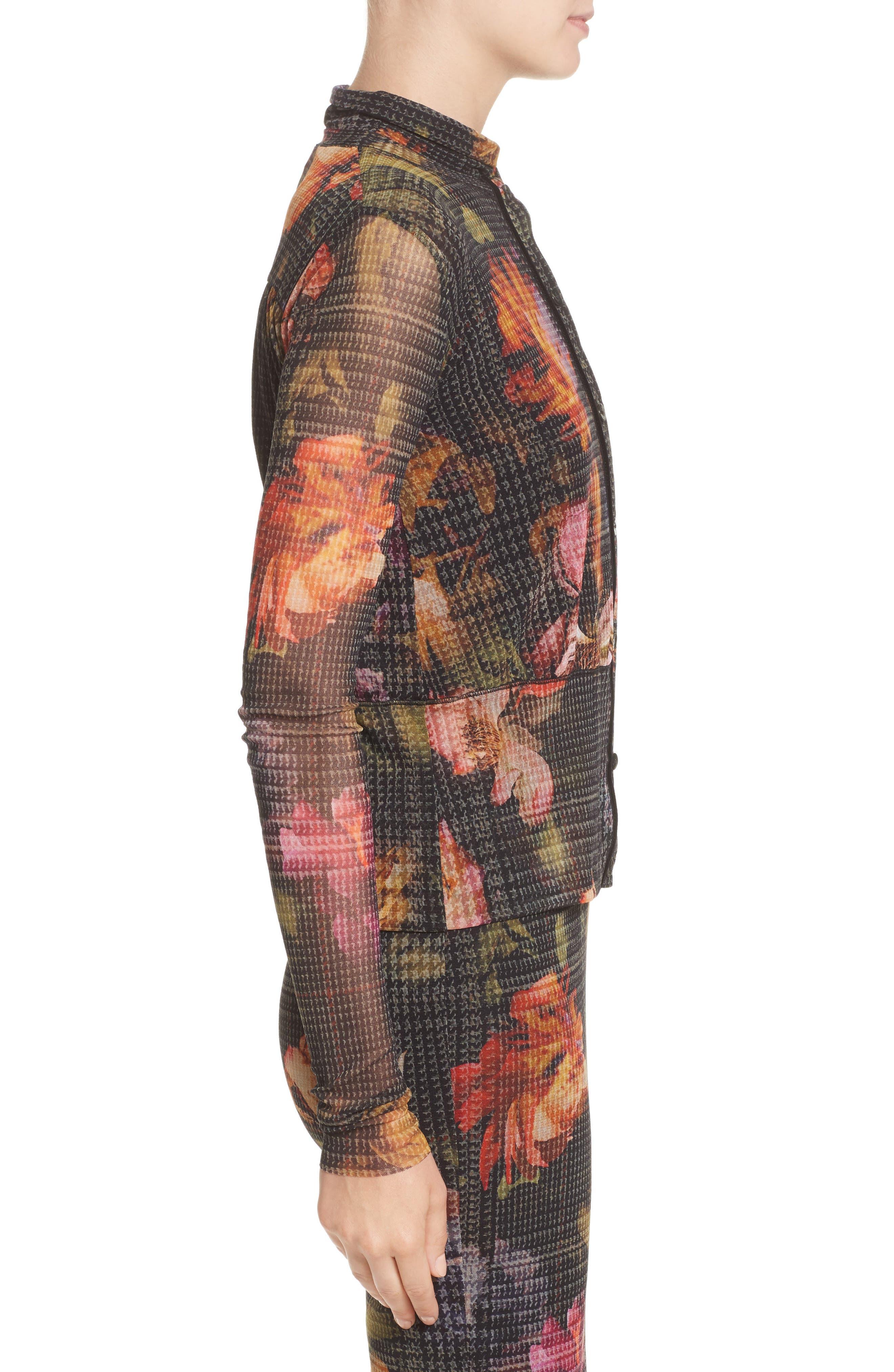 Alternate Image 3  - Fuzzi Velvet Trim Print Tulle Cardigan