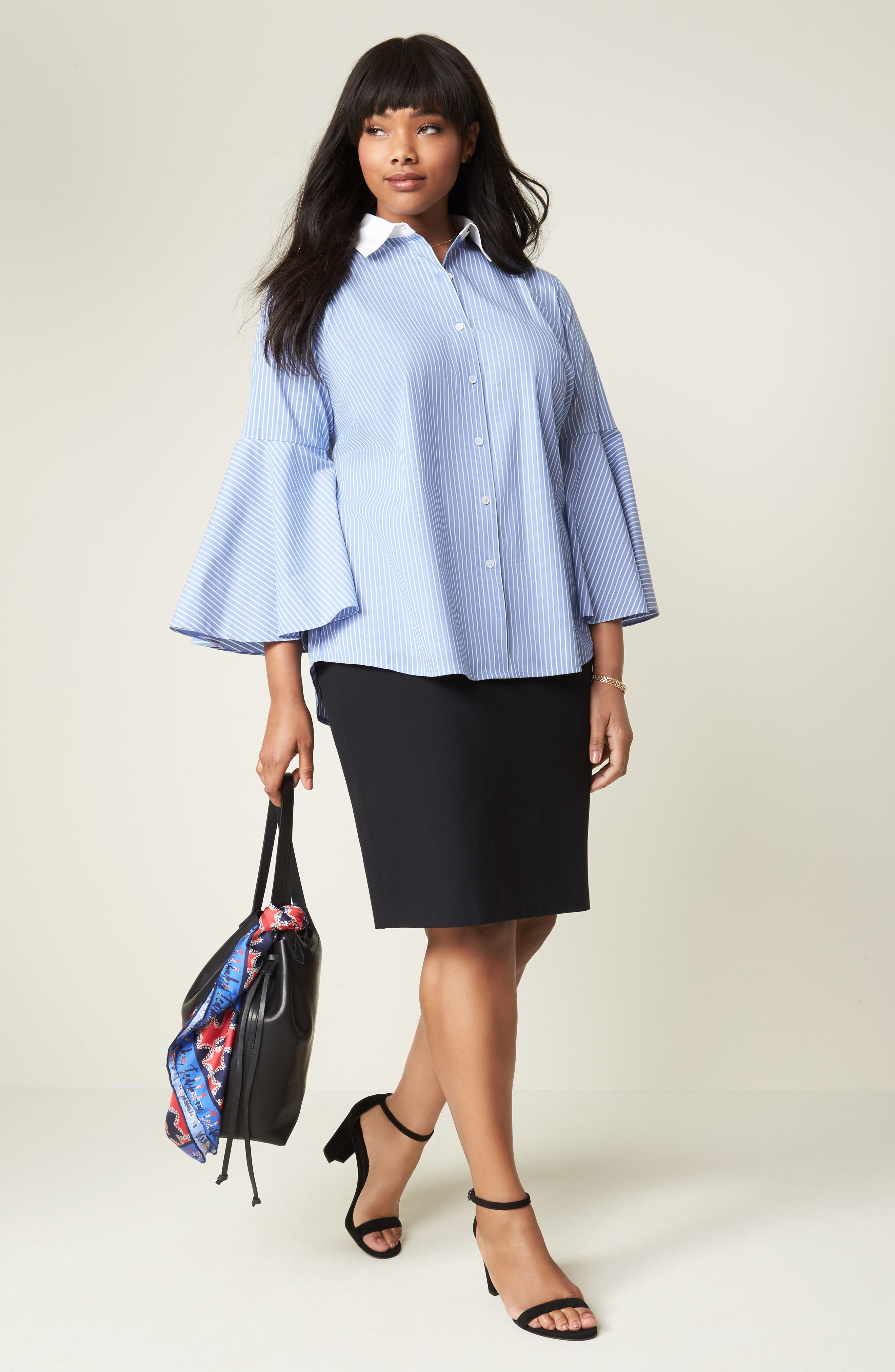 Alternate Image 2  - Vince Camuto Ponte Knit Skirt (Plus Size)