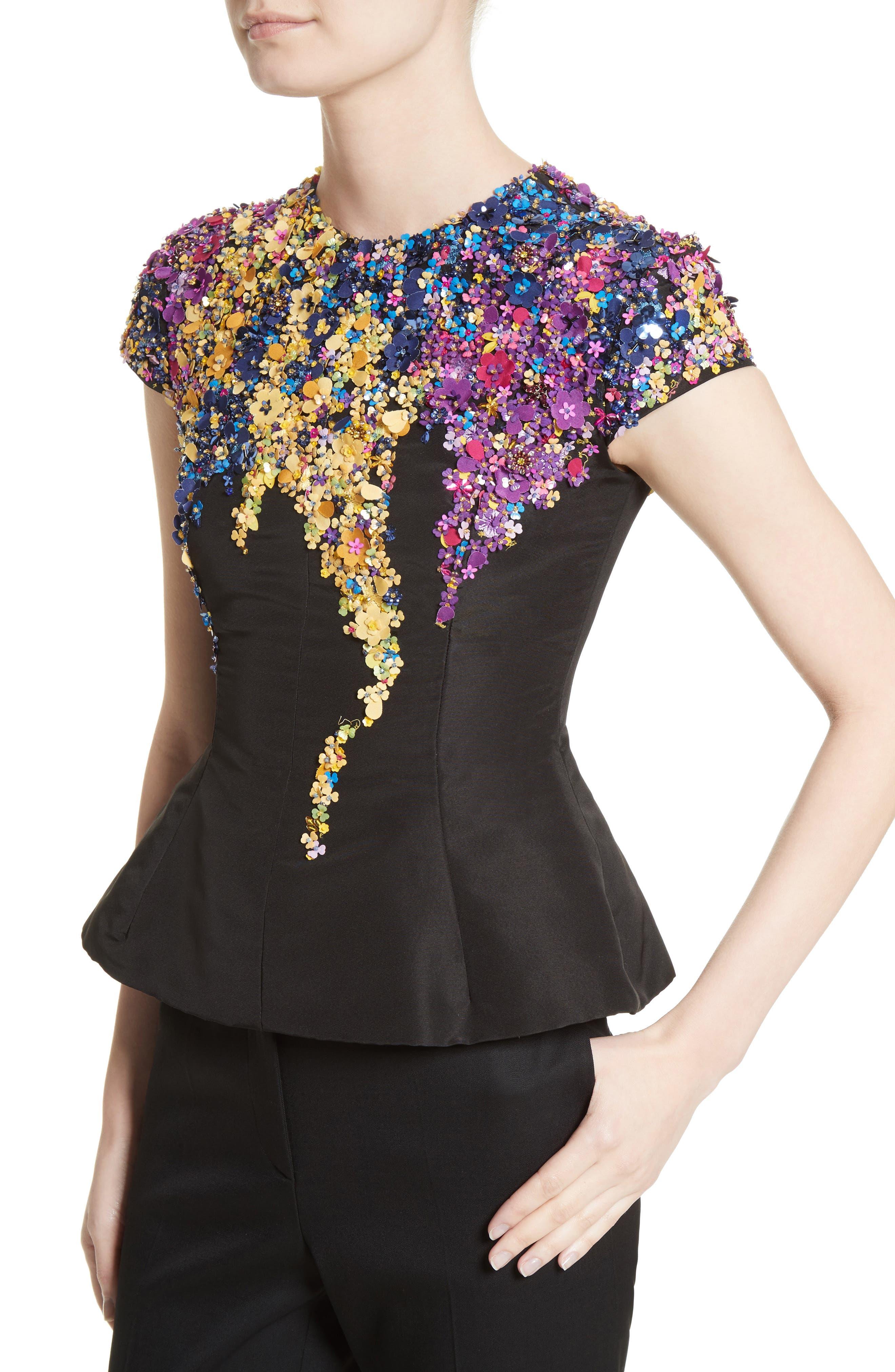 Alternate Image 4  - Oscar de la Renta Tendrils Floral Embroidered Silk Faille Top