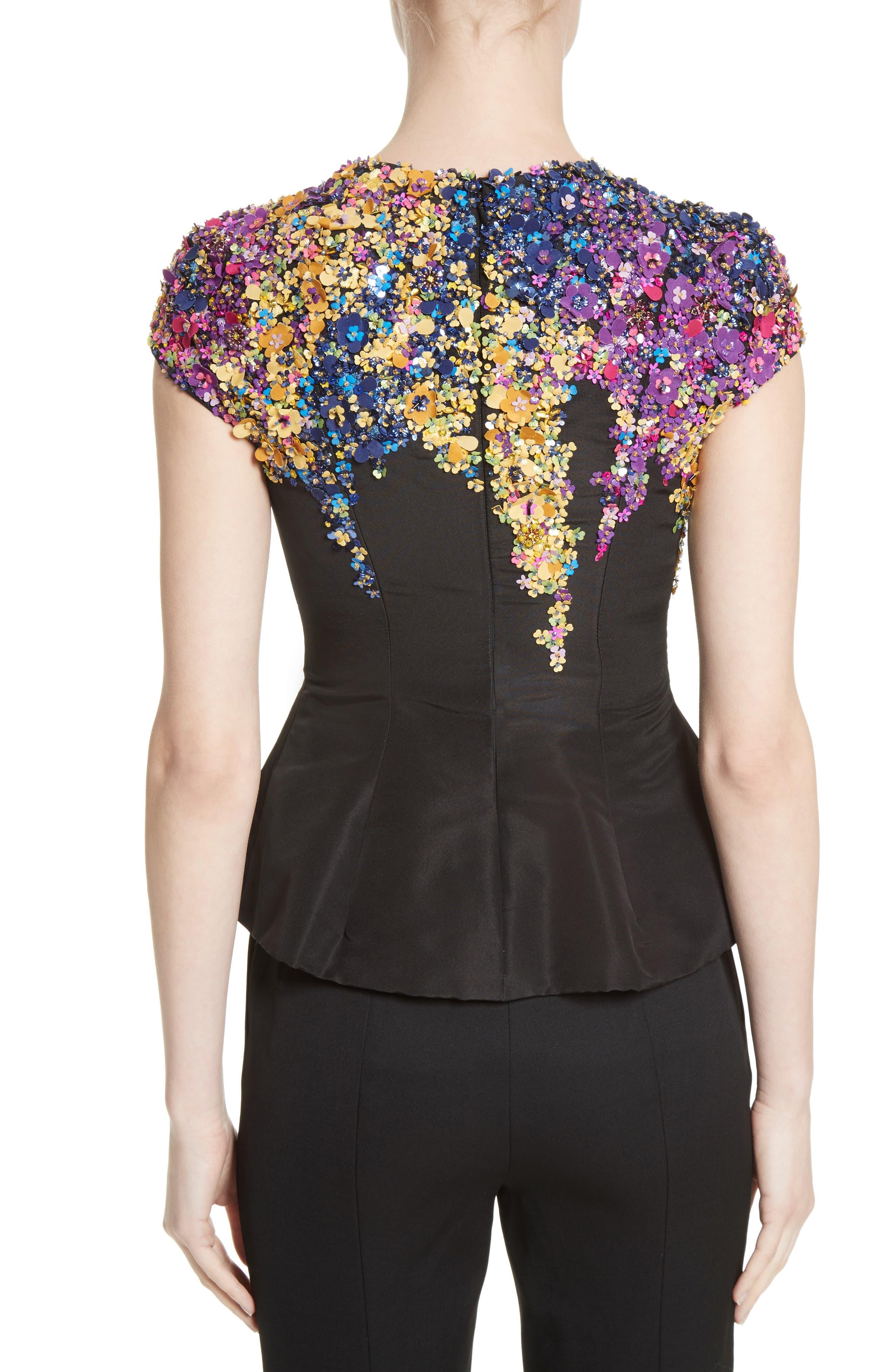 Alternate Image 2  - Oscar de la Renta Tendrils Floral Embroidered Silk Faille Top