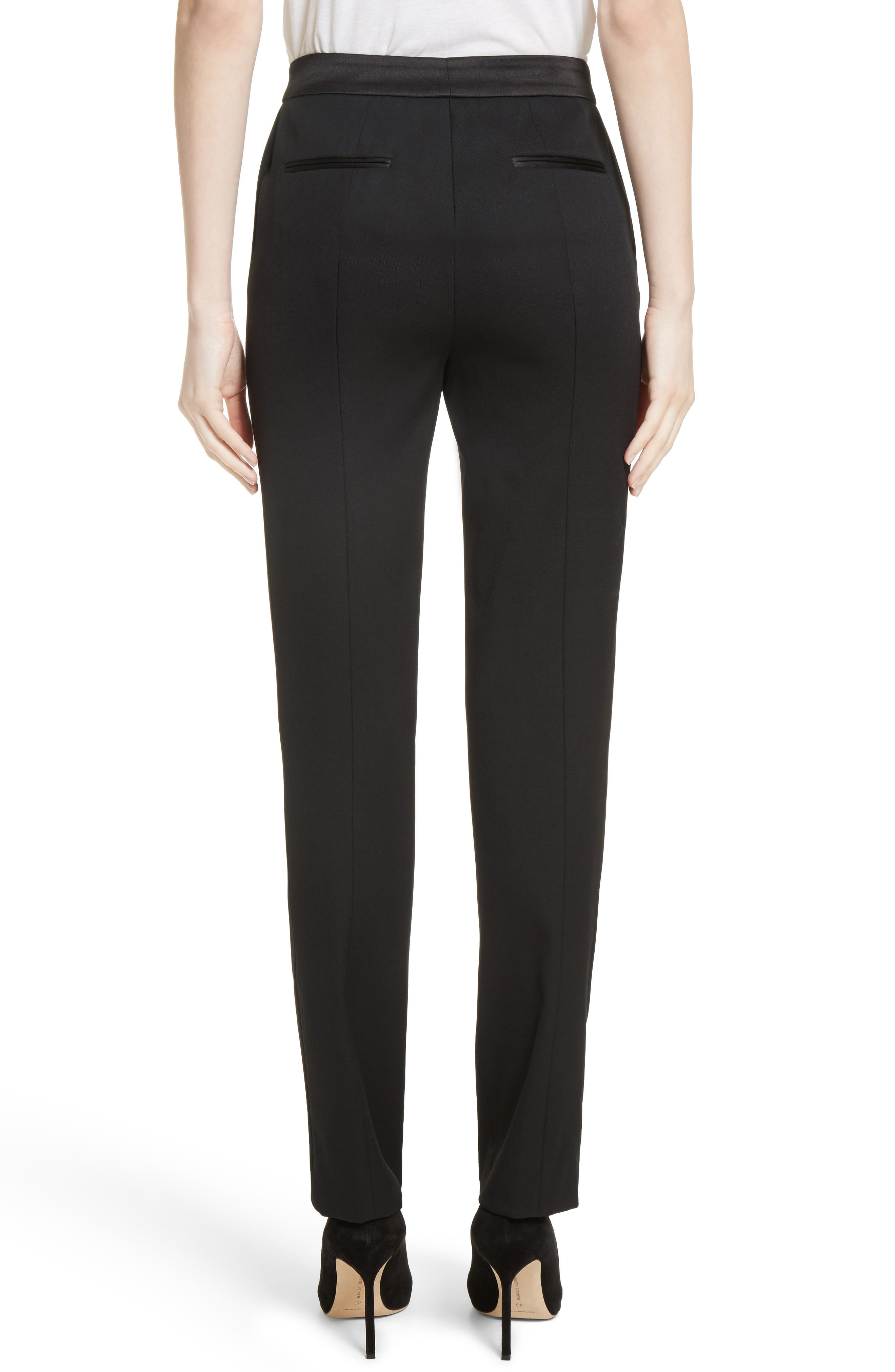 Alternate Image 2  - Oscar de la Renta Satin Trim Stretch Wool Gabardine Pants