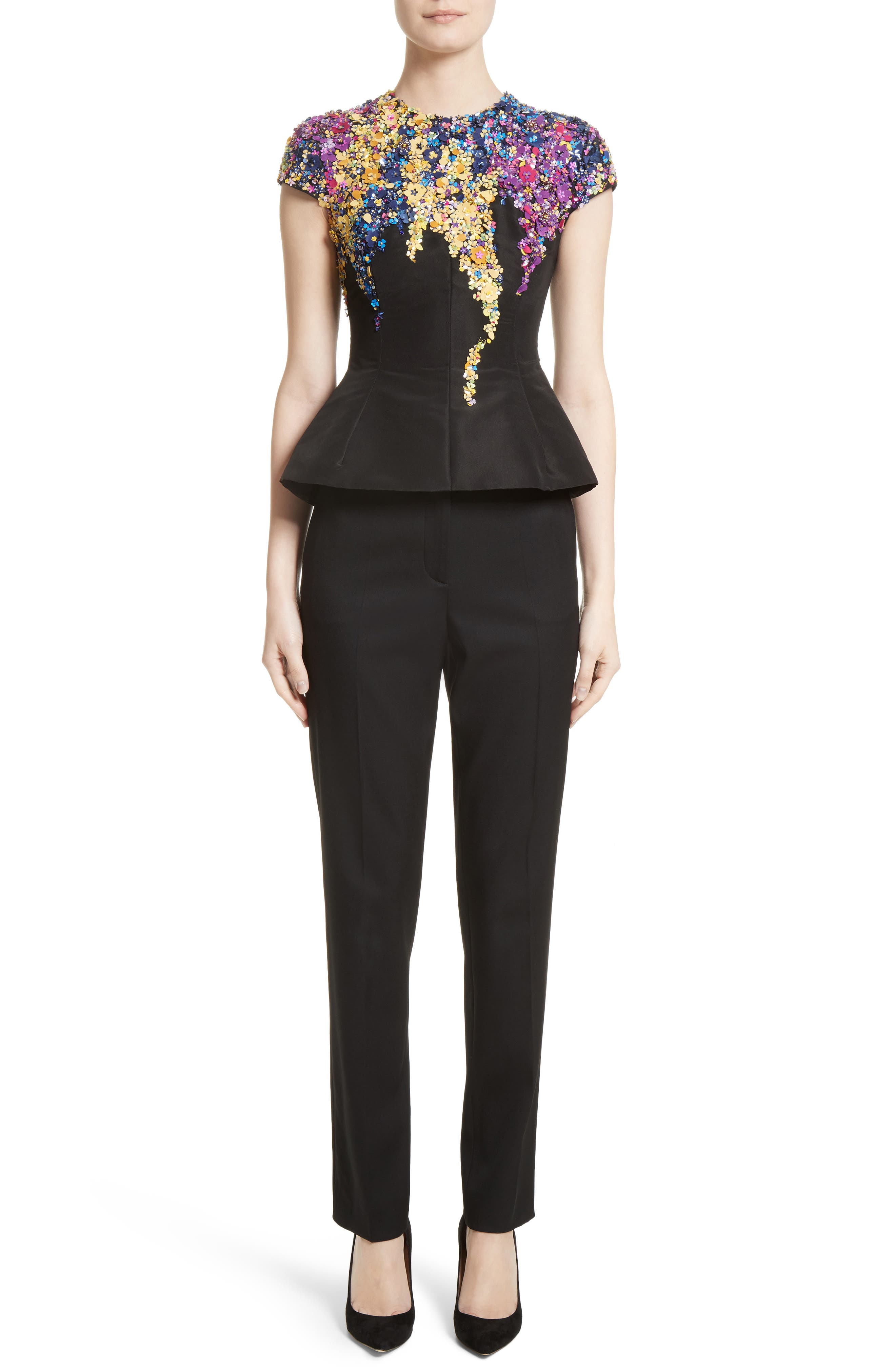 Alternate Image 7  - Oscar de la Renta Satin Trim Stretch Wool Gabardine Pants