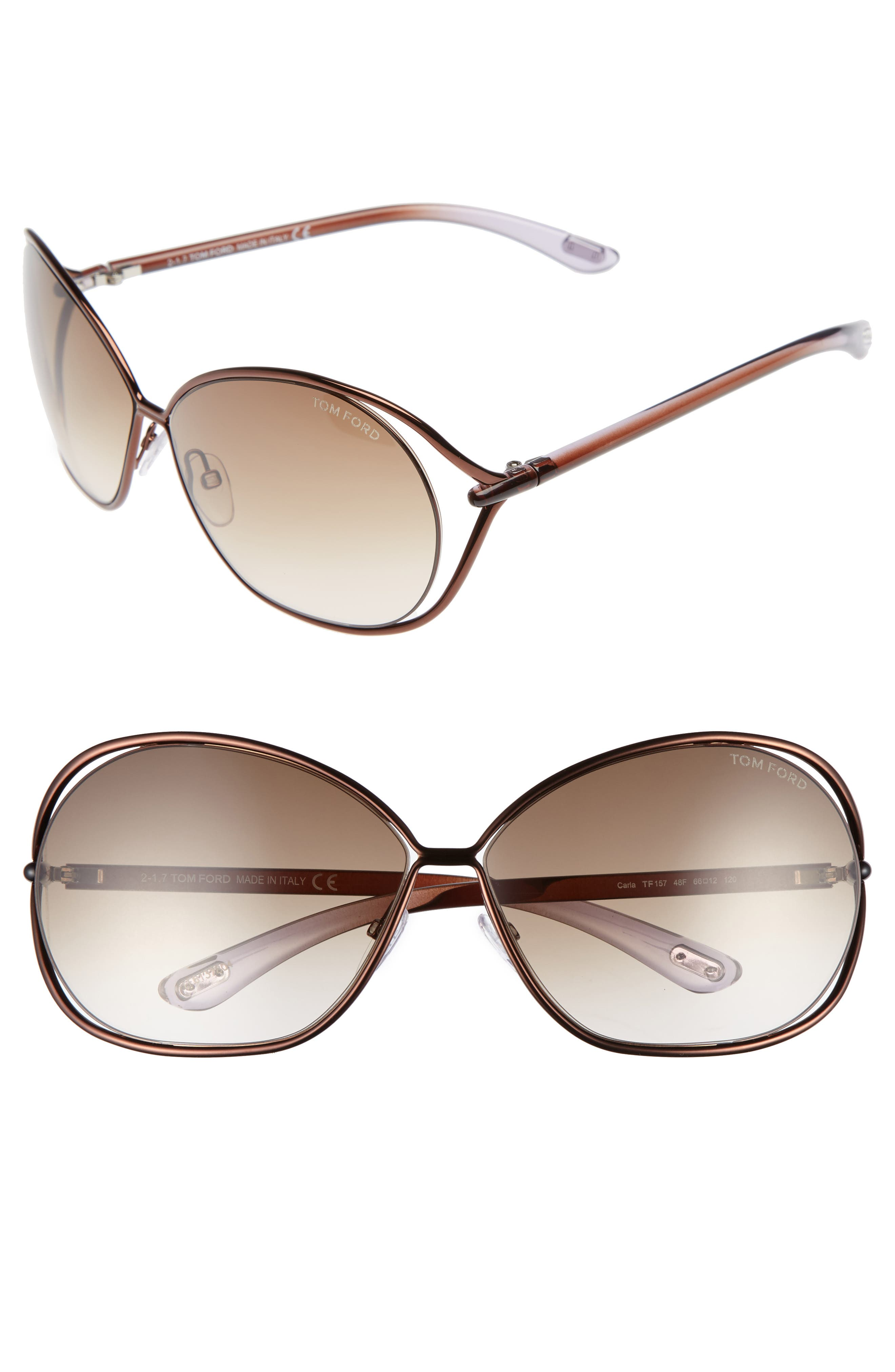Alternate Image 1 Selected - Tom Ford Carla 66mm Oversized Round Metal Sunglasses