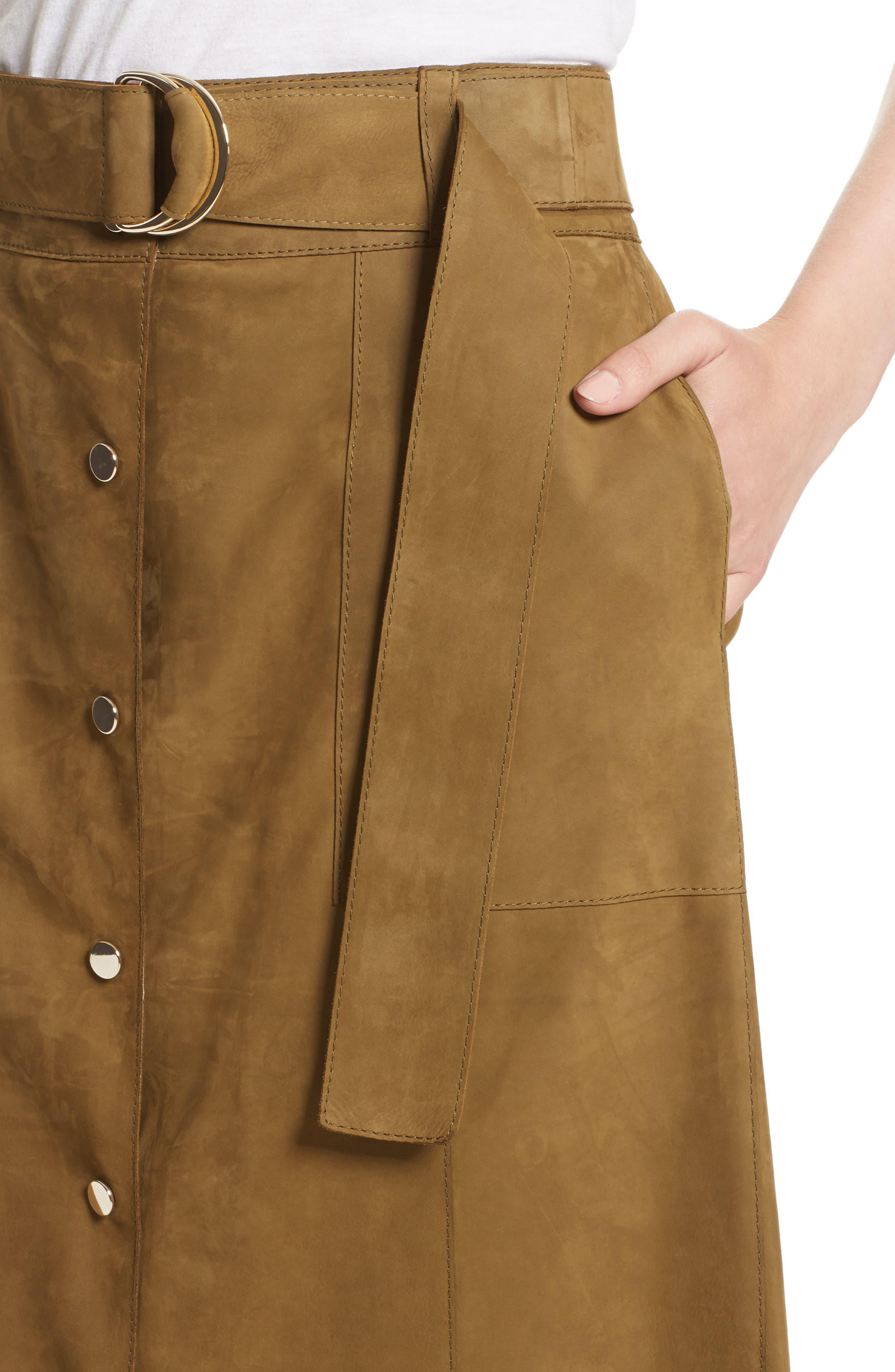 Orla Leather Skirt,                             Alternate thumbnail 6, color,                             Kelp