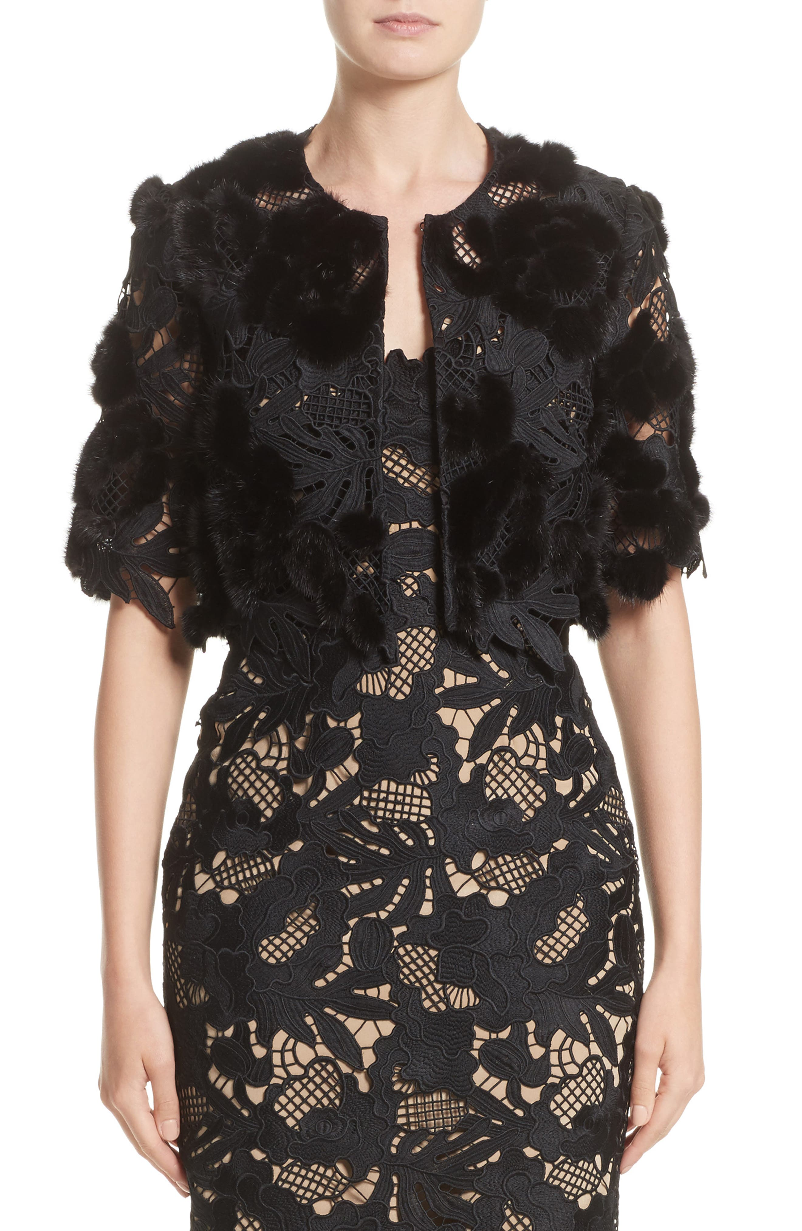 Lela Rose Genuine Mink Embroidered Lace Bolero