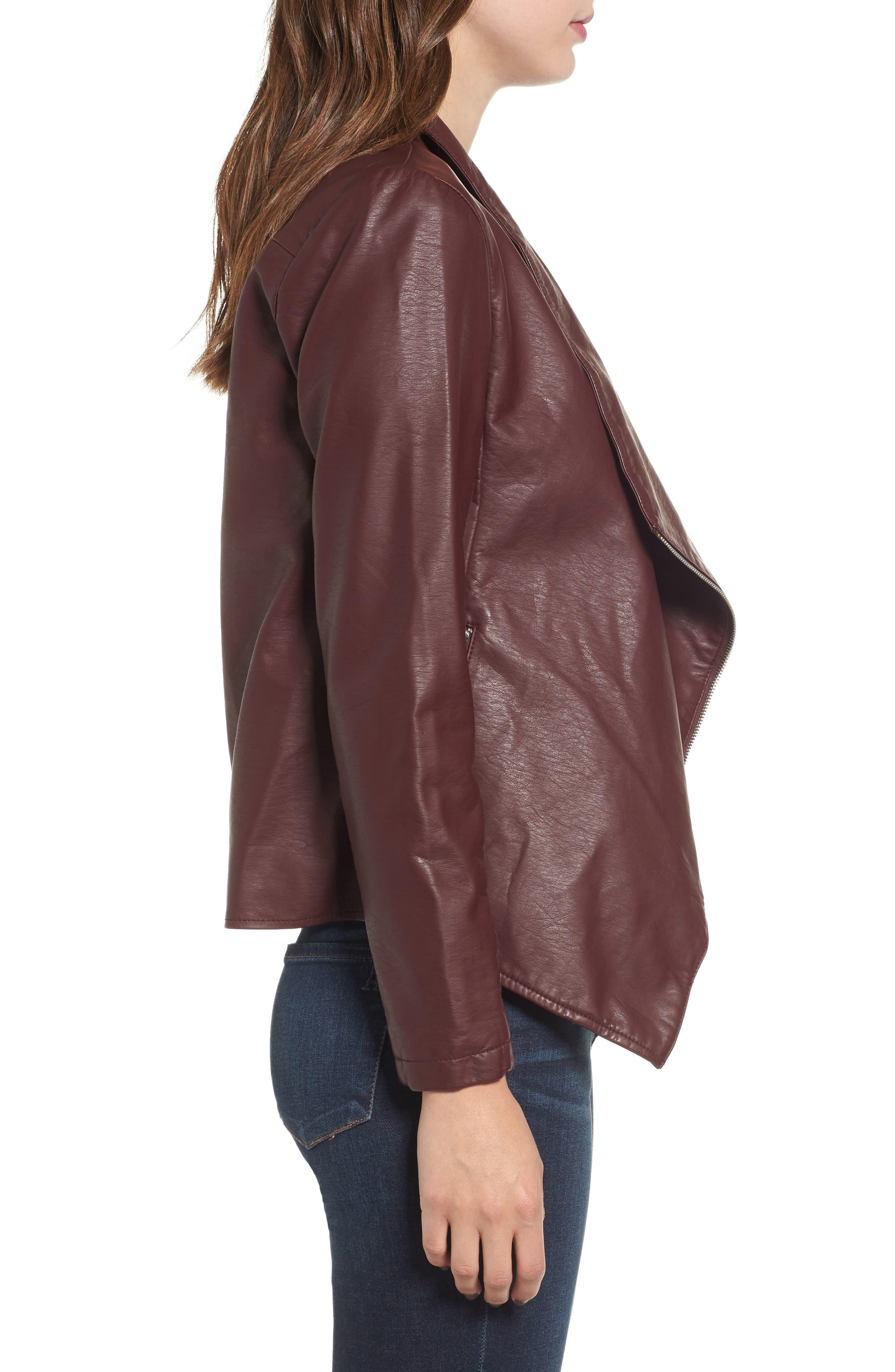Alternate Image 3  - BB Dakota Gabrielle Faux Leather Asymmetrical Jacket