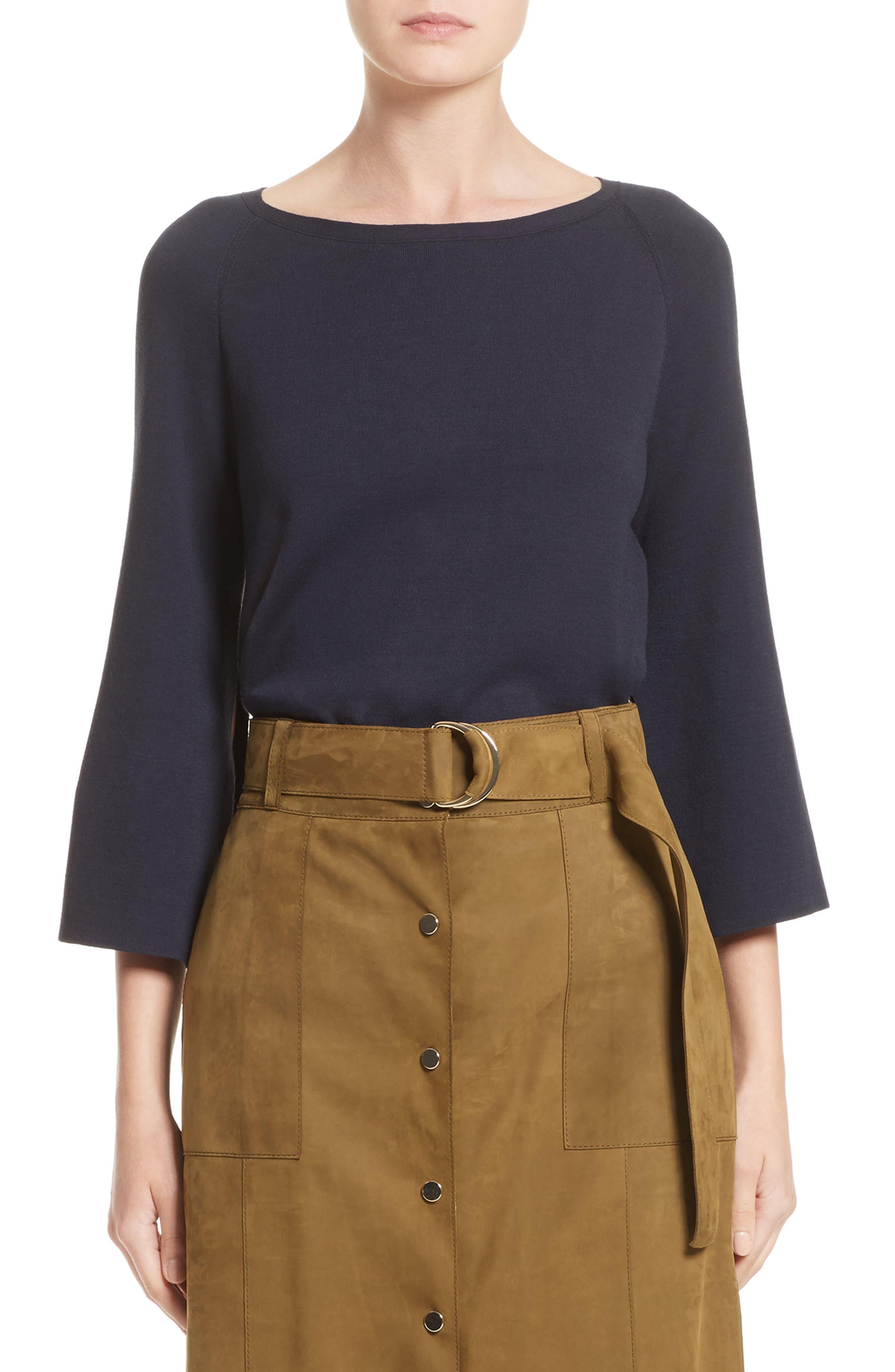 Bicolor A-Line Sweater,                         Main,                         color, Ink/ Black