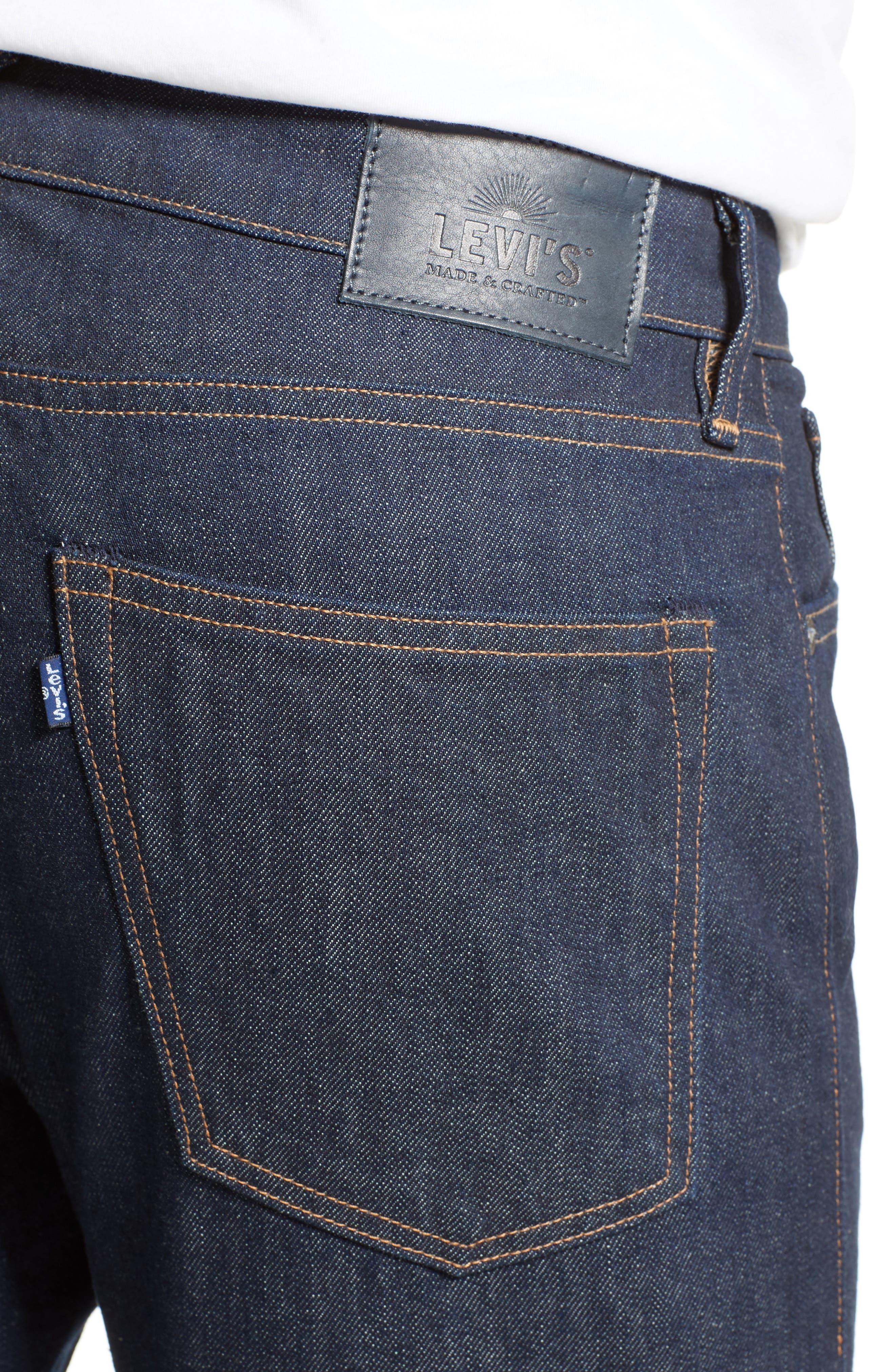 Tack Slim Fit Jeans,                             Alternate thumbnail 4, color,                             Dark Blue