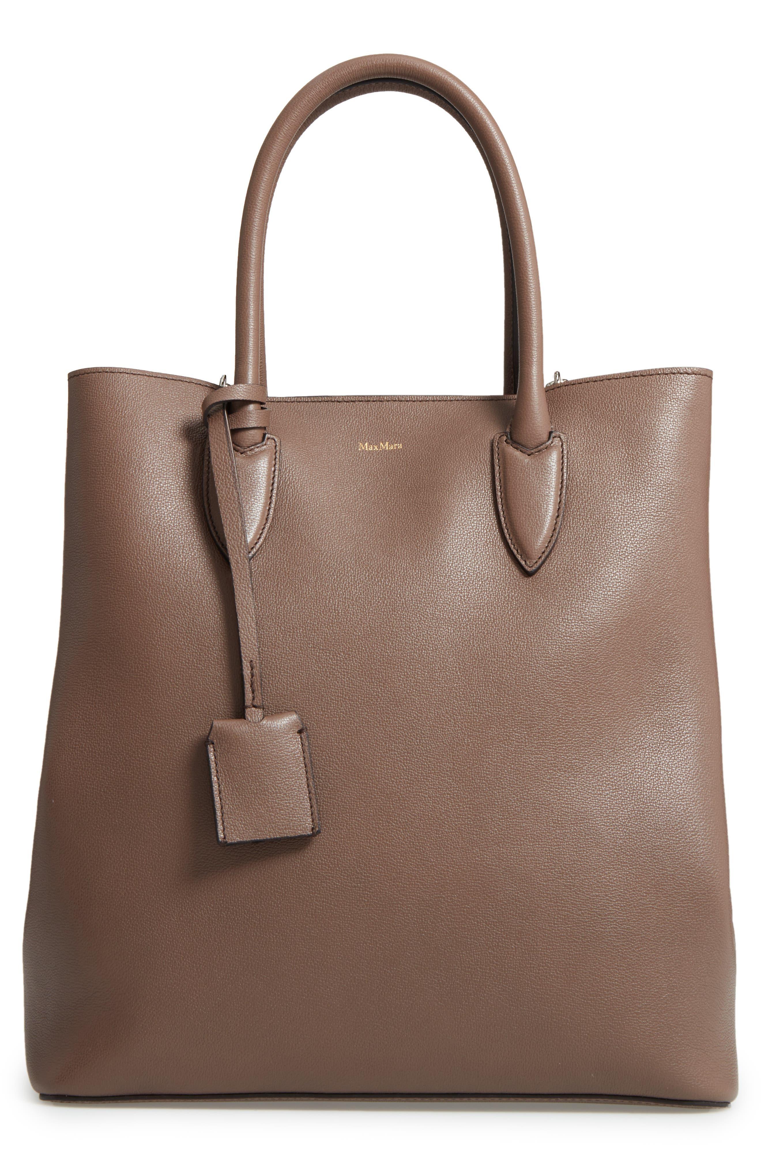 Alternate Image 1 Selected - Max Mara Pebbled Leather Shopper